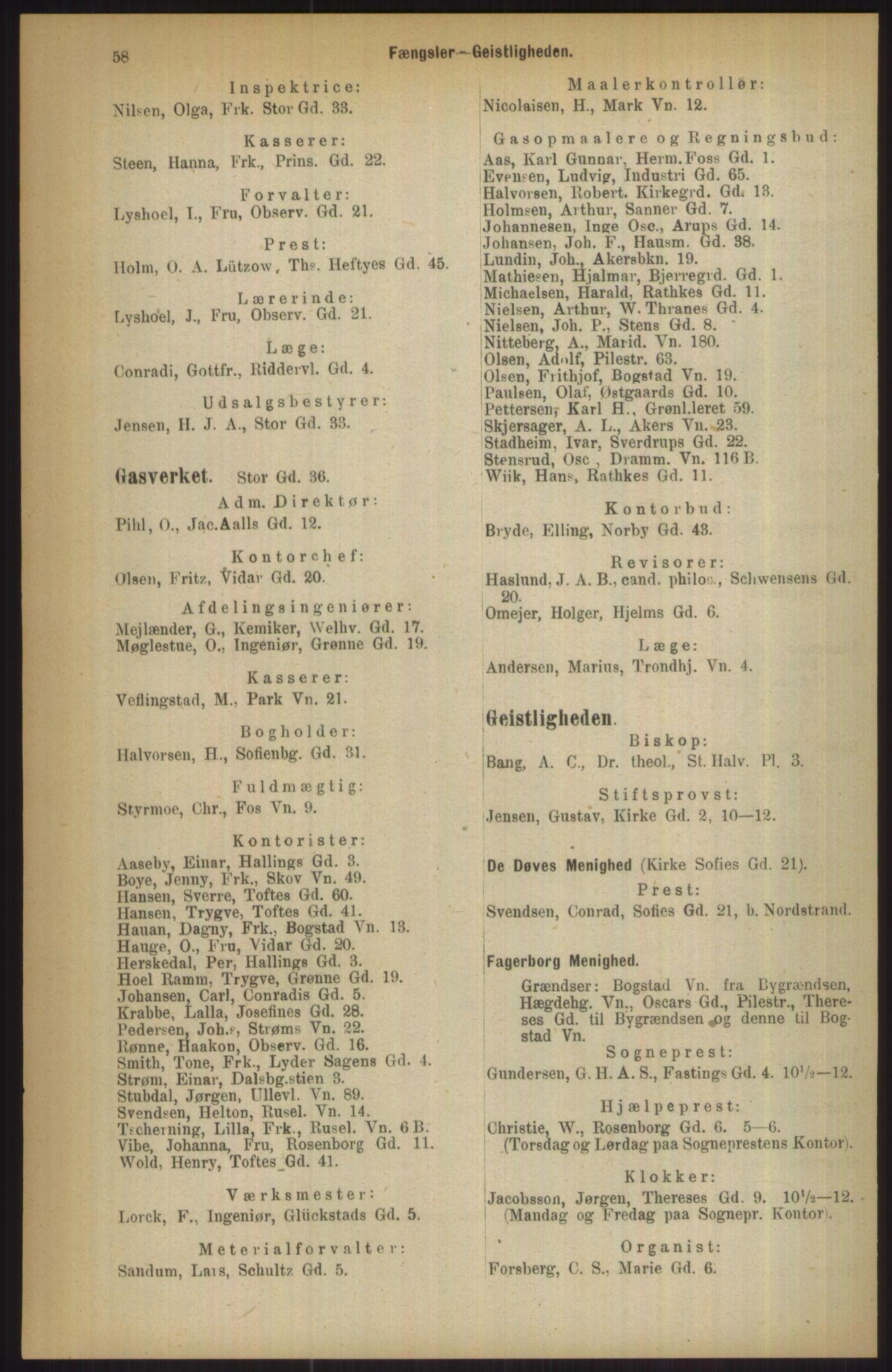 RA, Kristiania adressebok (publikasjon)*, 1911, s. 58