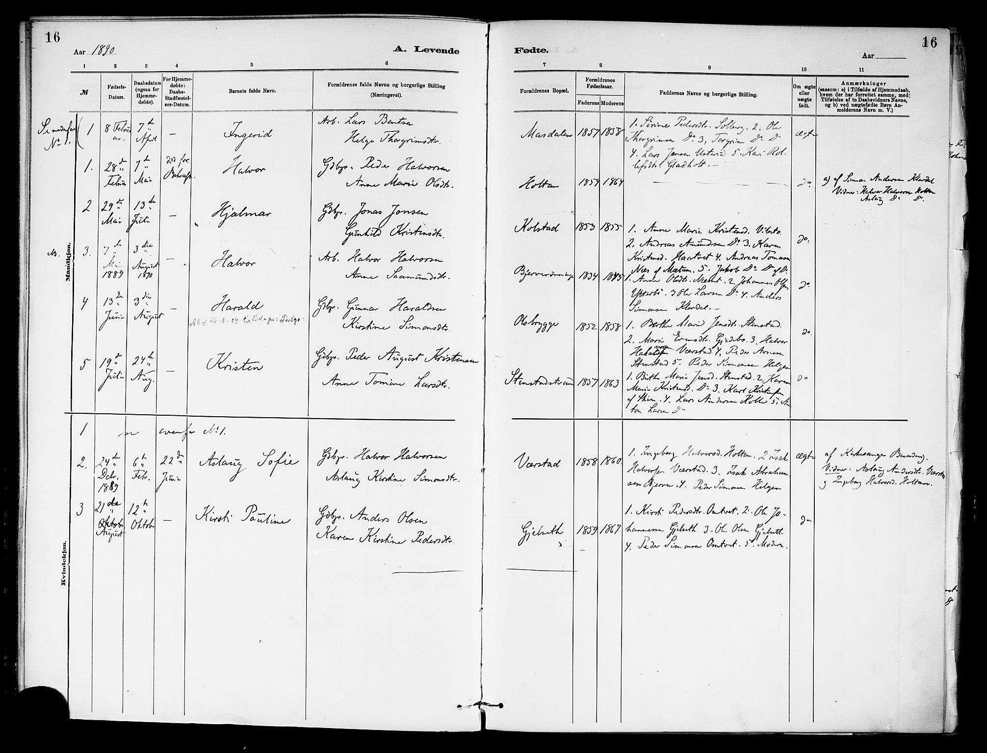 SAKO, Holla kirkebøker, F/Fa/L0009: Ministerialbok nr. 9, 1881-1897, s. 16