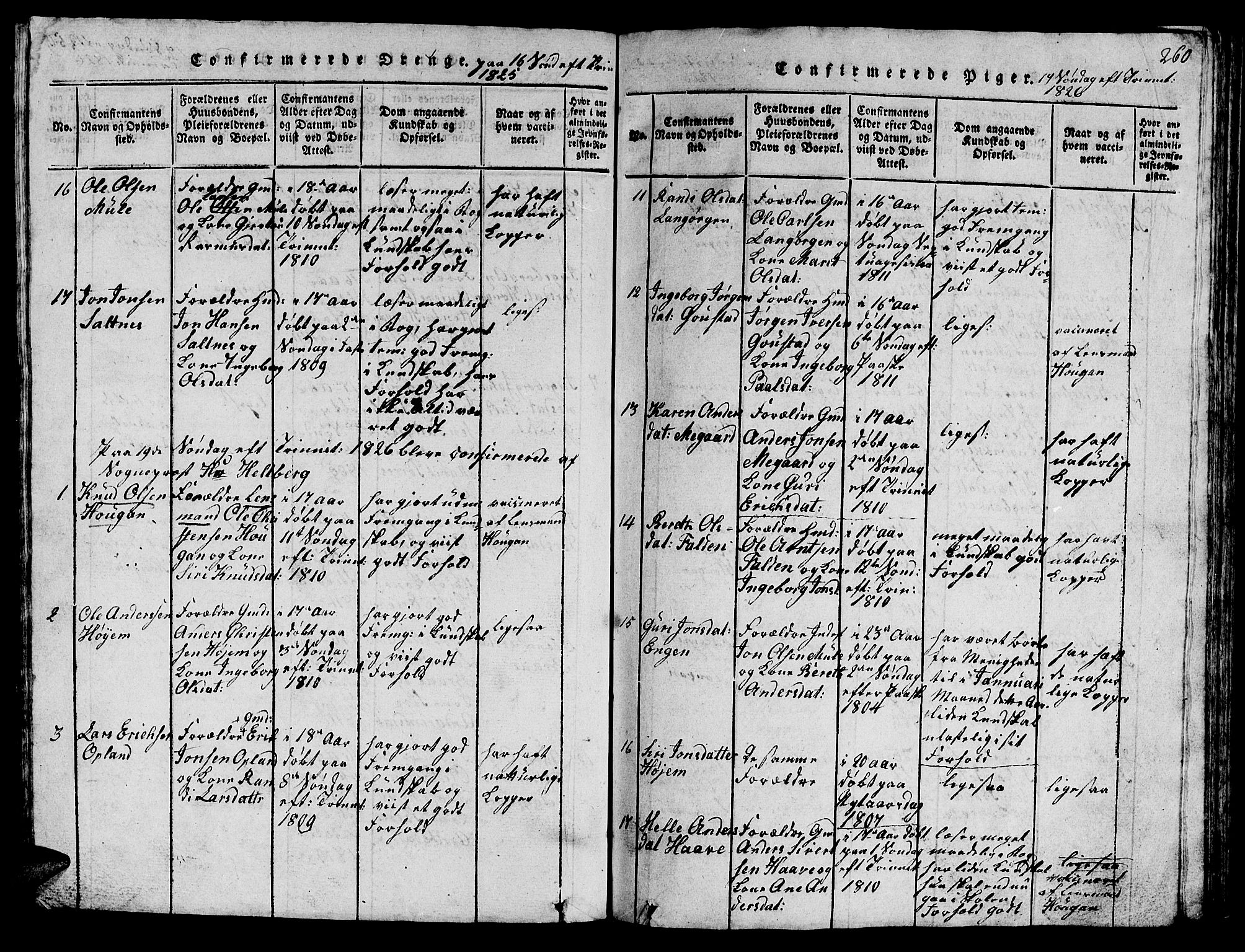 SAT, Ministerialprotokoller, klokkerbøker og fødselsregistre - Sør-Trøndelag, 612/L0385: Klokkerbok nr. 612C01, 1816-1845, s. 260