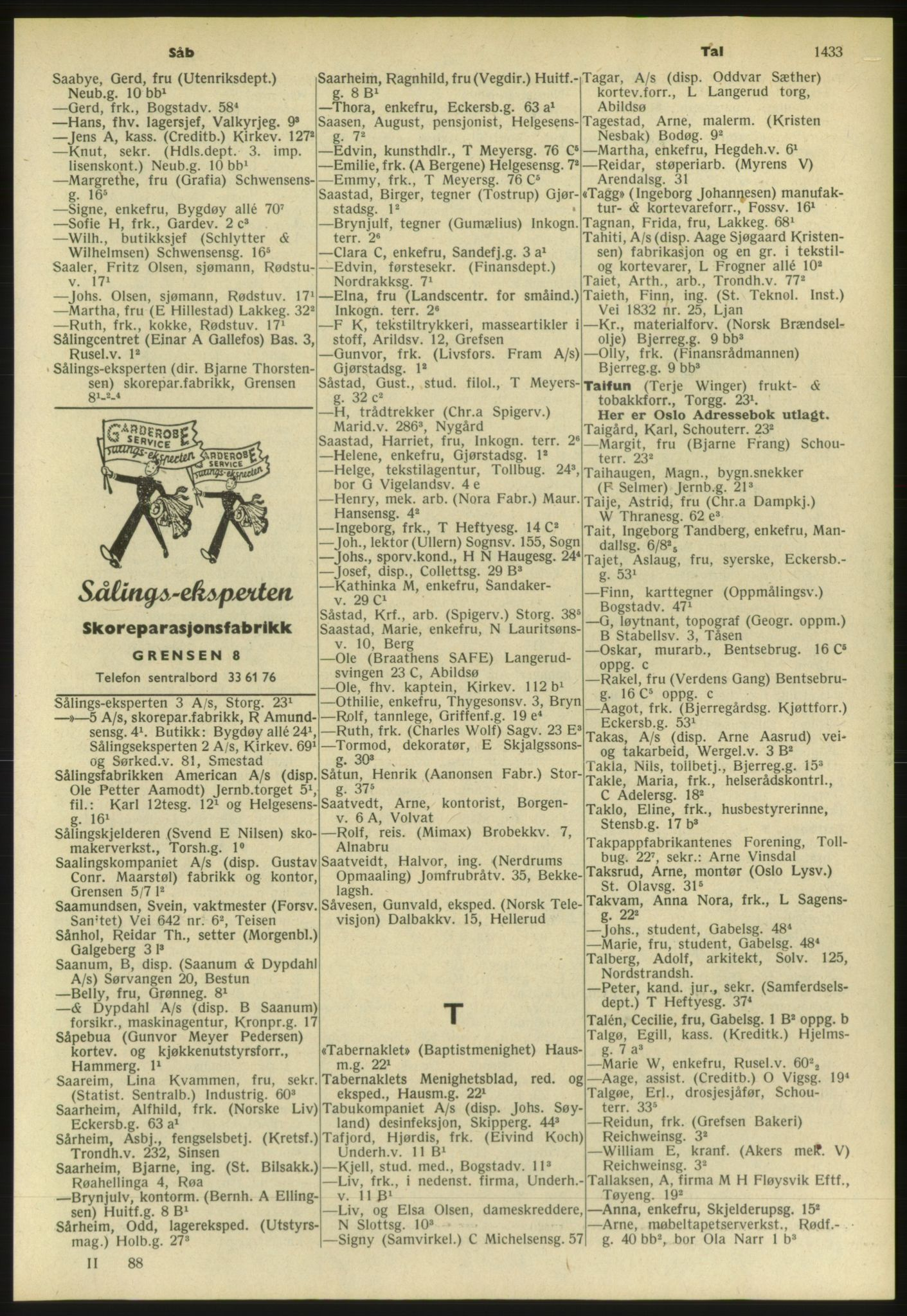 PUBL, Kristiania/Oslo adressebok, 1952, s. 1433