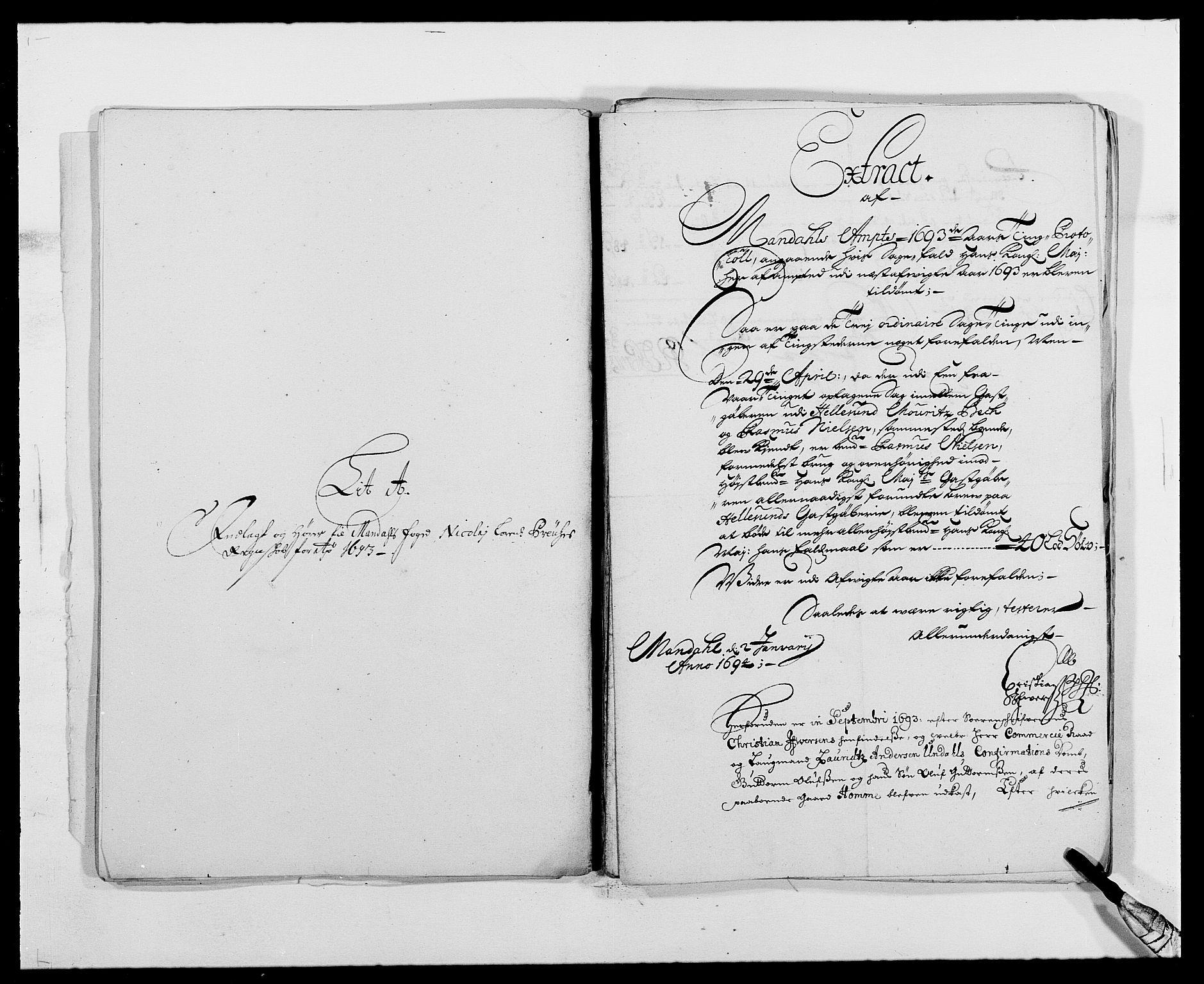 RA, Rentekammeret inntil 1814, Reviderte regnskaper, Fogderegnskap, R42/L2544: Mandal fogderi, 1692-1693, s. 208