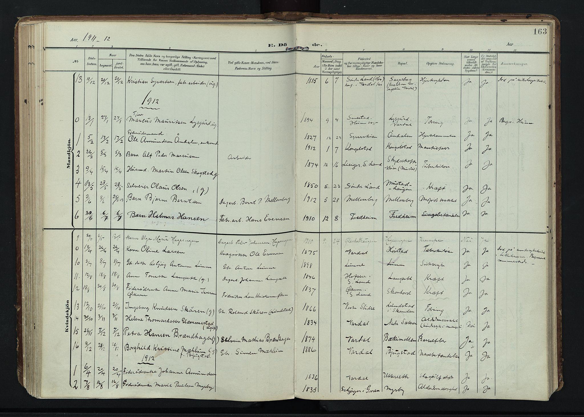 SAH, Vardal prestekontor, H/Ha/Haa/L0020: Ministerialbok nr. 20, 1907-1921, s. 163