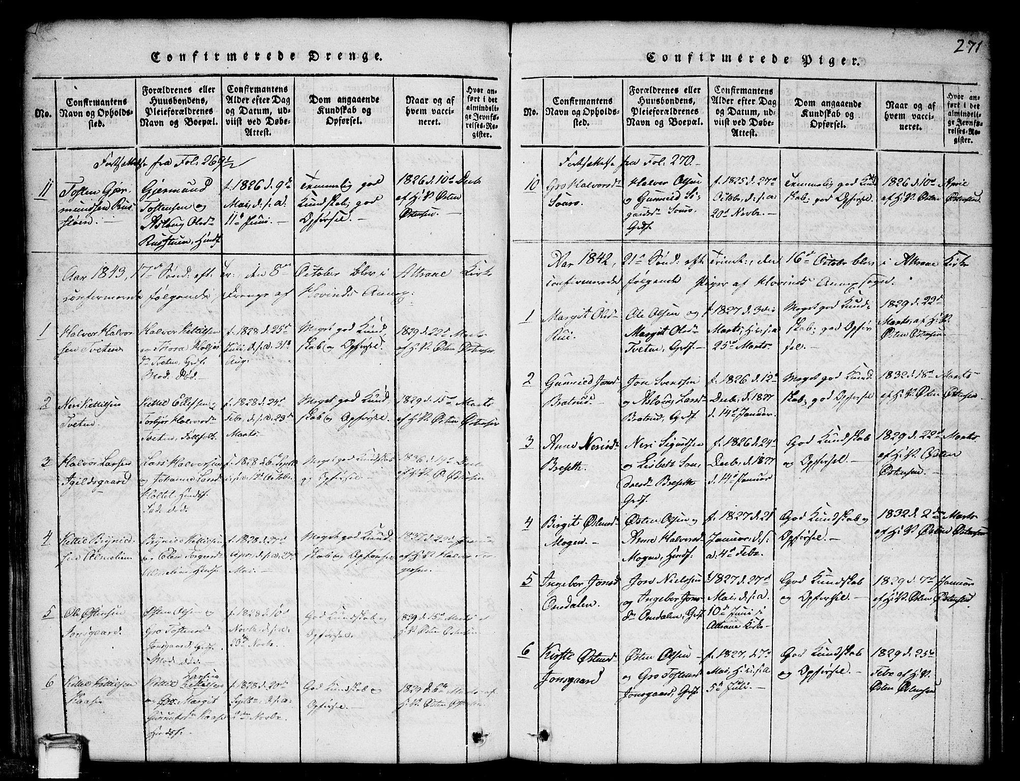 SAKO, Gransherad kirkebøker, G/Gb/L0001: Klokkerbok nr. II 1, 1815-1860, s. 271
