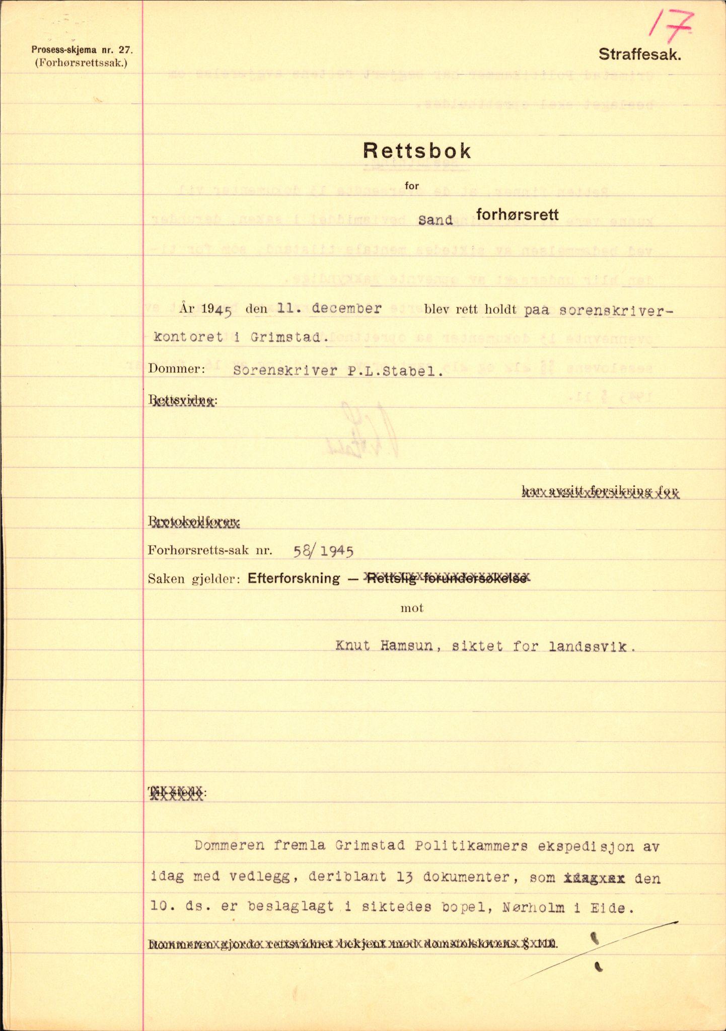 RA, Landssvikarkivet, Arendal politikammer, D/Dc/L0029: Anr. 192/45, 1945-1951, s. 93