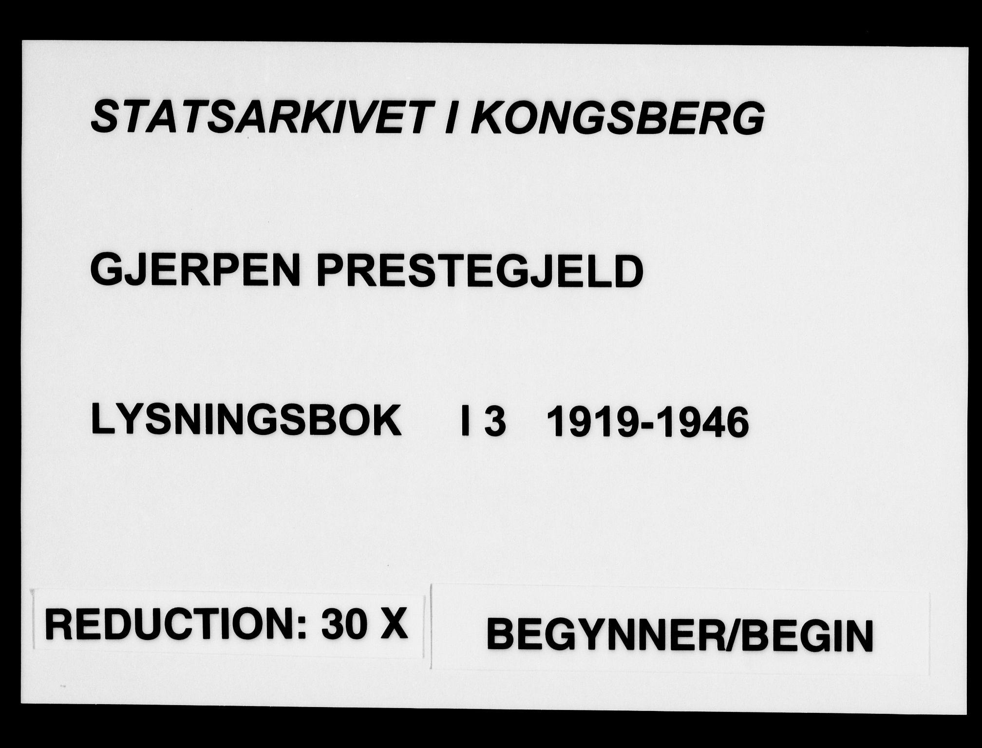 SAKO, Gjerpen kirkebøker, H/Ha/L0003: Lysningsprotokoll nr. I 3, 1919-1946