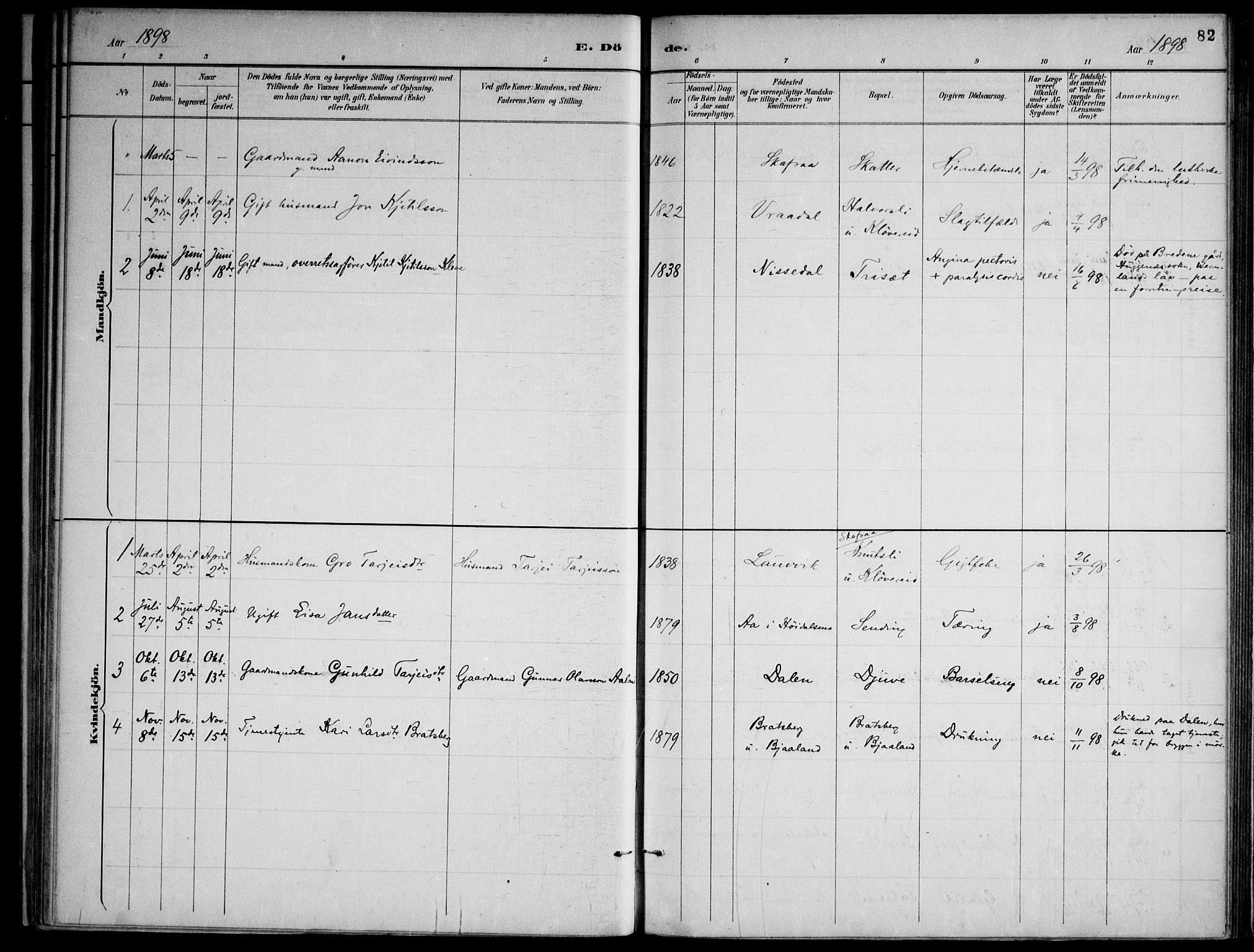 SAKO, Lårdal kirkebøker, F/Fa/L0007: Ministerialbok nr. I 7, 1887-1906, s. 82