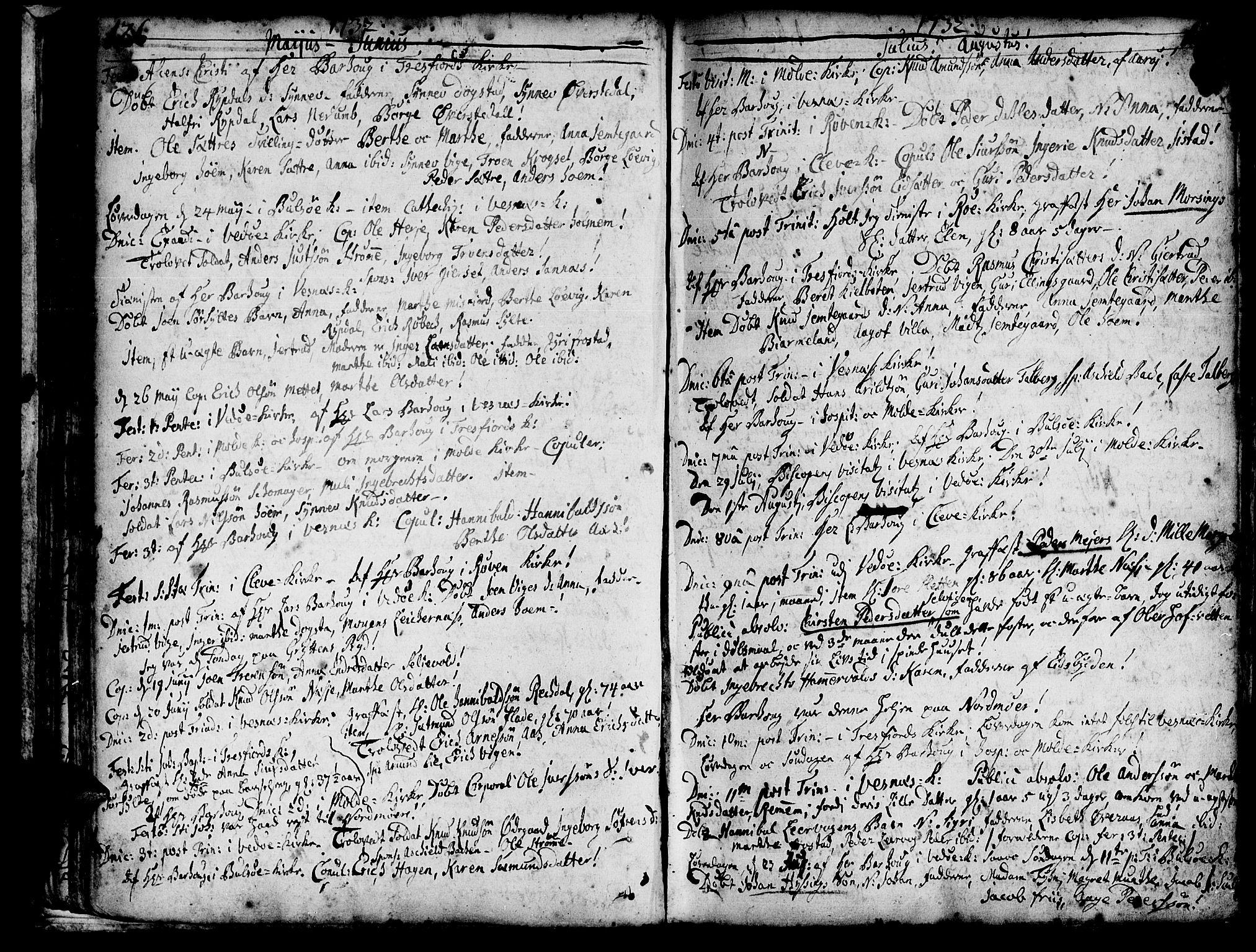 SAT, Ministerialprotokoller, klokkerbøker og fødselsregistre - Møre og Romsdal, 547/L0599: Ministerialbok nr. 547A01, 1721-1764, s. 128-129