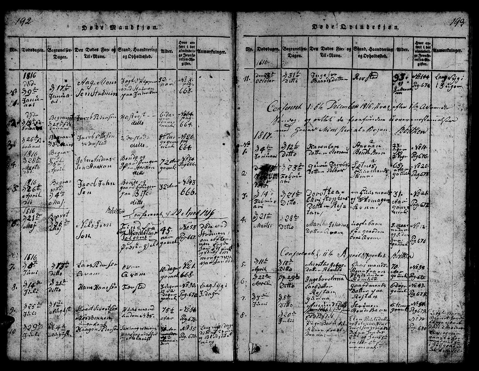 SAT, Ministerialprotokoller, klokkerbøker og fødselsregistre - Nord-Trøndelag, 730/L0298: Klokkerbok nr. 730C01, 1816-1849, s. 192-193