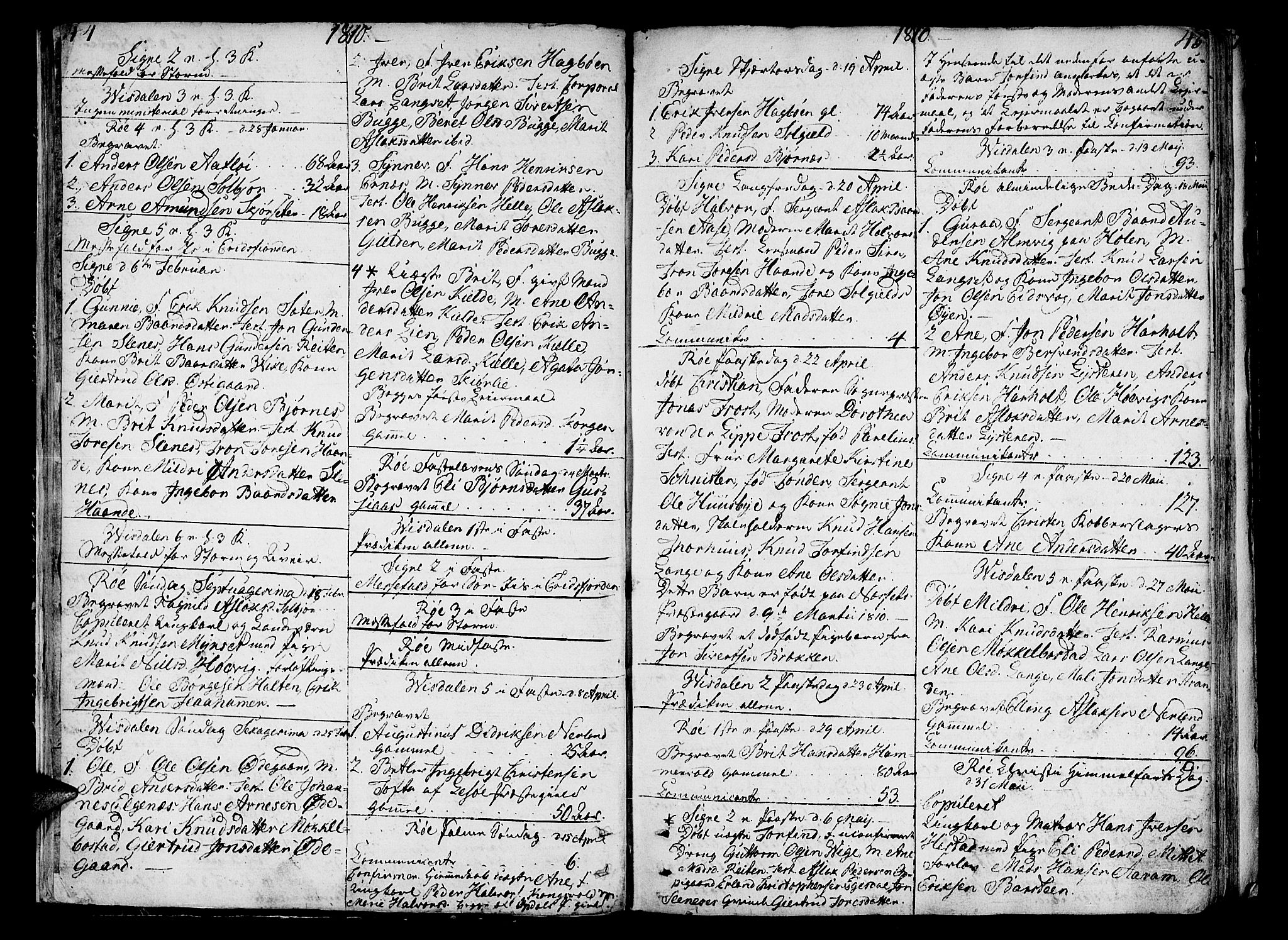 SAT, Ministerialprotokoller, klokkerbøker og fødselsregistre - Møre og Romsdal, 551/L0622: Ministerialbok nr. 551A02, 1804-1845, s. 44-45