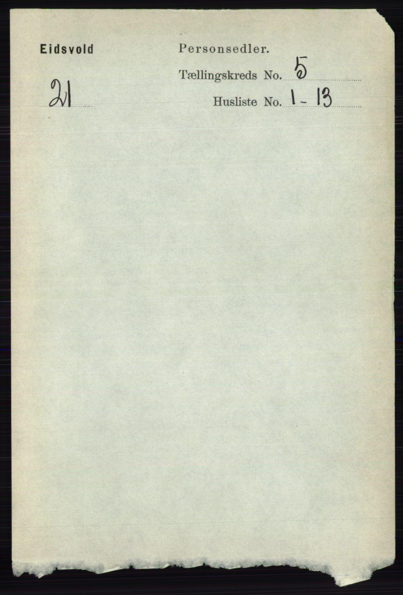 RA, Folketelling 1891 for 0237 Eidsvoll herred, 1891, s. 2743