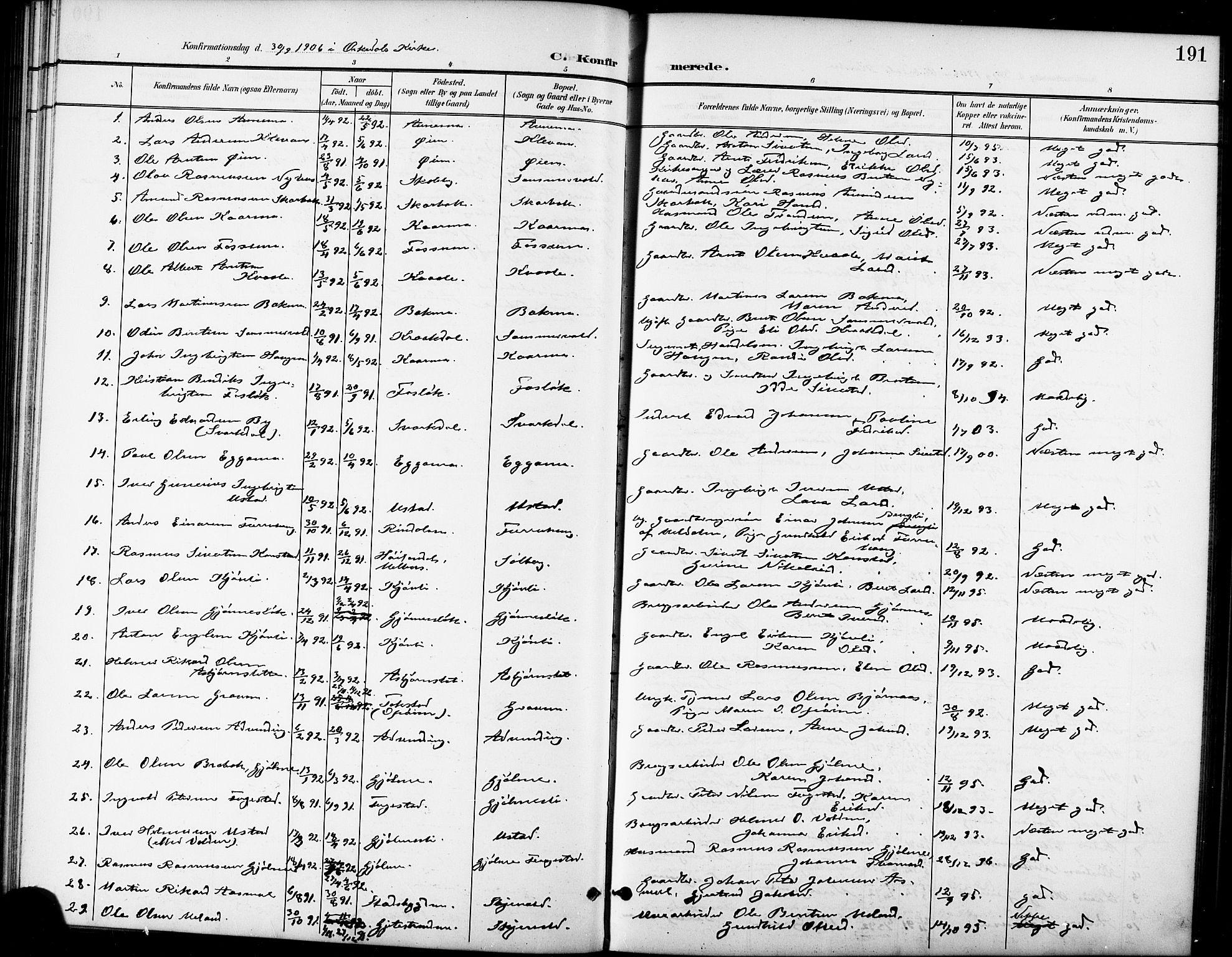 SAT, Ministerialprotokoller, klokkerbøker og fødselsregistre - Sør-Trøndelag, 668/L0819: Klokkerbok nr. 668C08, 1899-1912, s. 191