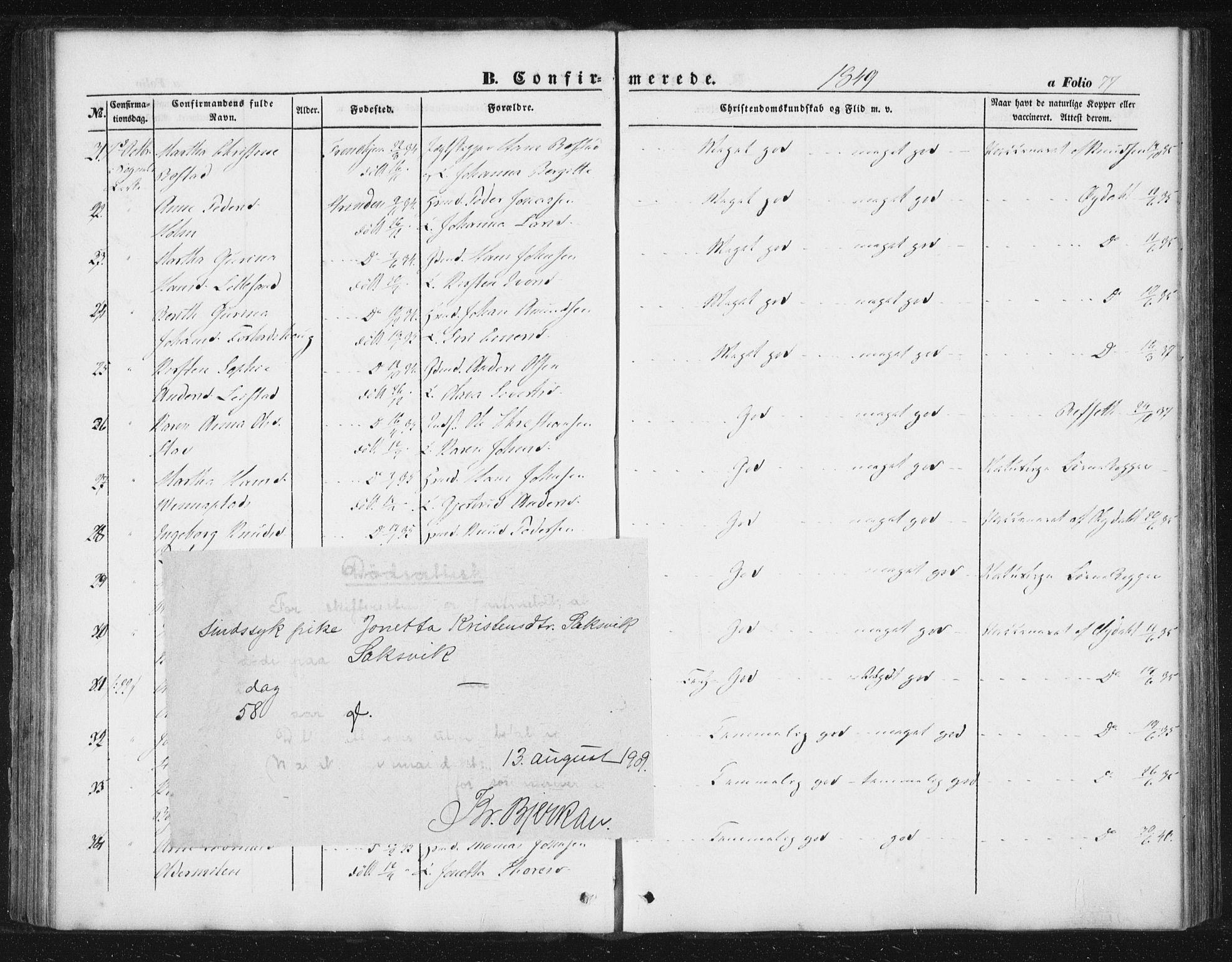 SAT, Ministerialprotokoller, klokkerbøker og fødselsregistre - Sør-Trøndelag, 616/L0407: Ministerialbok nr. 616A04, 1848-1856, s. 77