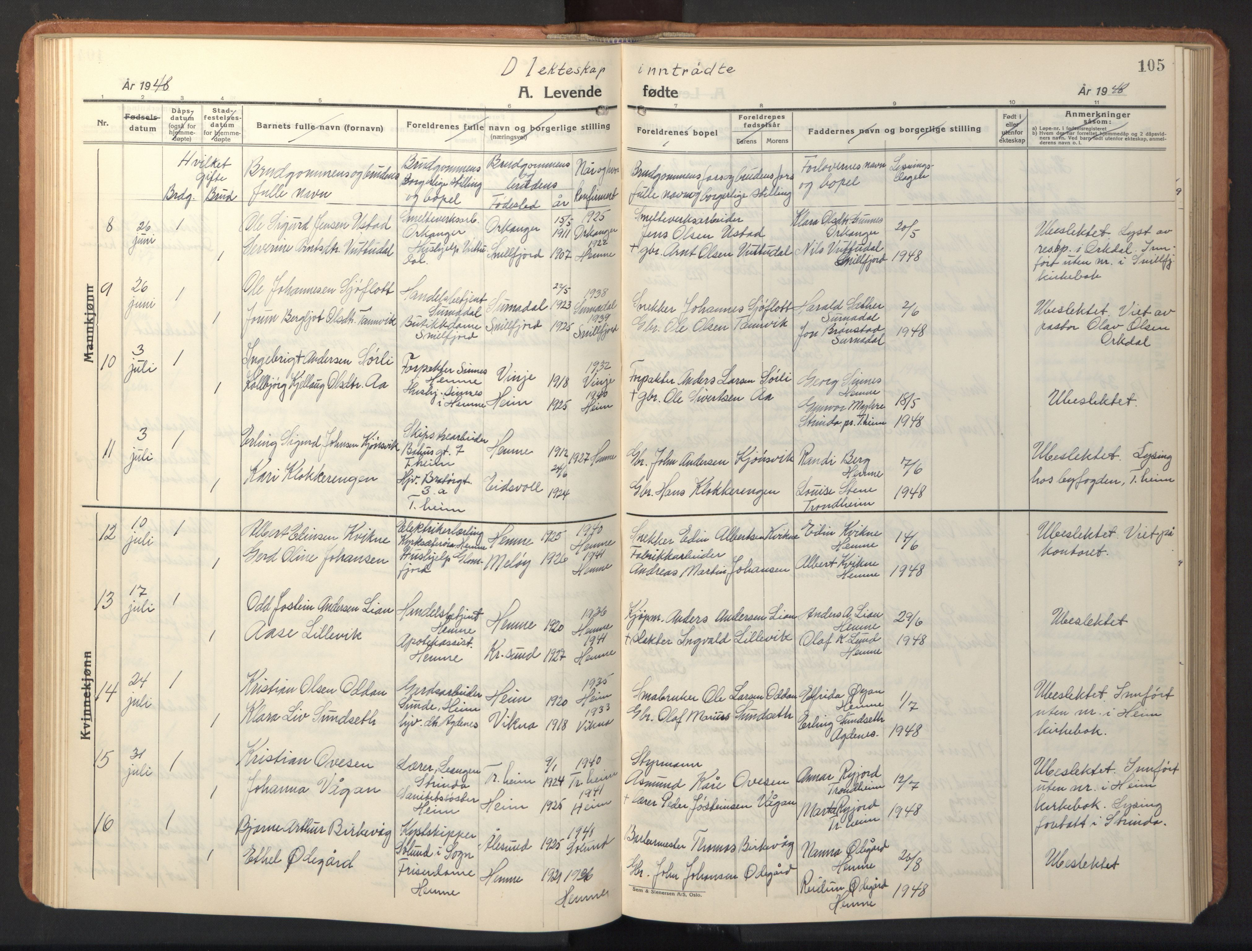 SAT, Ministerialprotokoller, klokkerbøker og fødselsregistre - Sør-Trøndelag, 630/L0508: Klokkerbok nr. 630C06, 1933-1950, s. 105