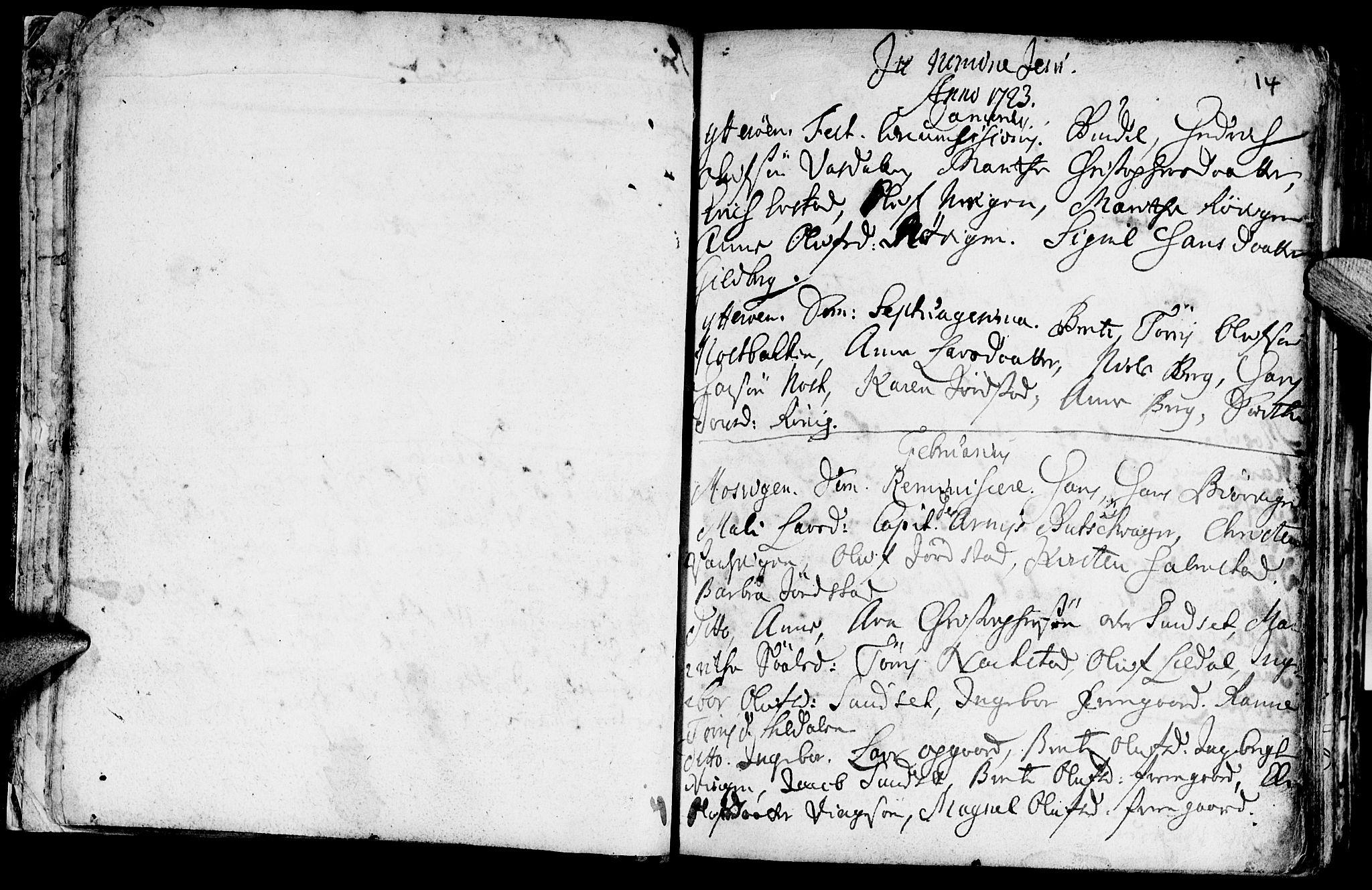 SAT, Ministerialprotokoller, klokkerbøker og fødselsregistre - Nord-Trøndelag, 722/L0215: Ministerialbok nr. 722A02, 1718-1755, s. 14