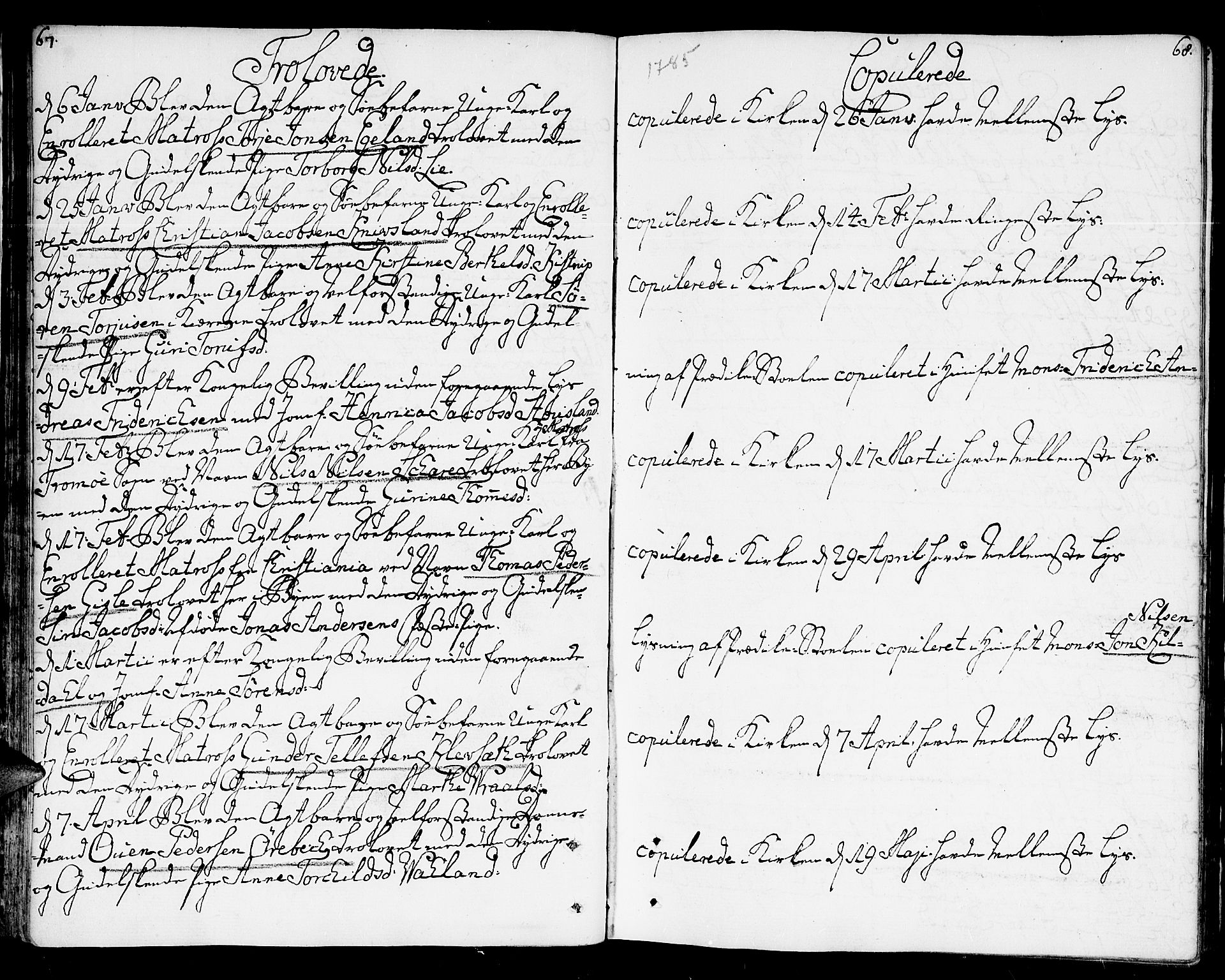 SAK, Kristiansand domprosti, F/Fa/L0005: Ministerialbok nr. A 5, 1776-1818, s. 67-68