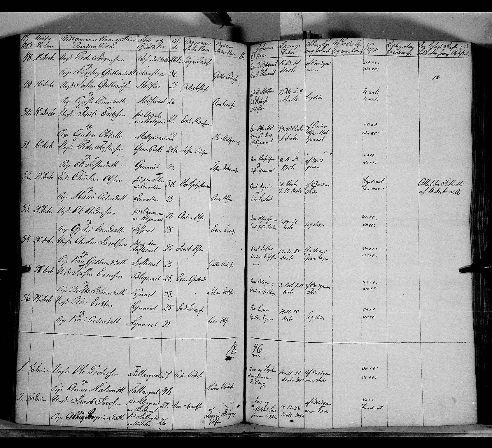 SAH, Gran prestekontor, Ministerialbok nr. 11, 1842-1856, s. 872-873