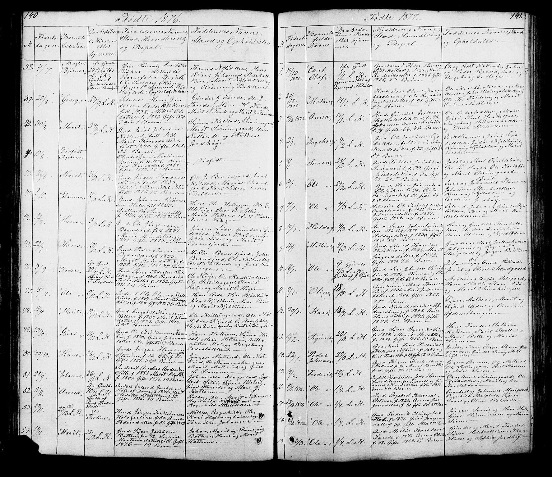 SAH, Lesja prestekontor, Klokkerbok nr. 5, 1850-1894, s. 140-141