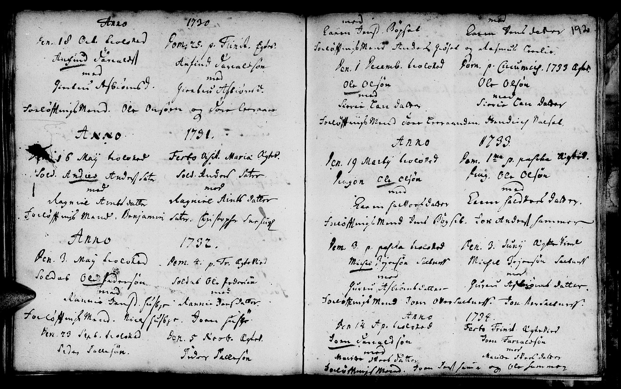 SAT, Ministerialprotokoller, klokkerbøker og fødselsregistre - Sør-Trøndelag, 666/L0783: Ministerialbok nr. 666A01, 1702-1753, s. 192
