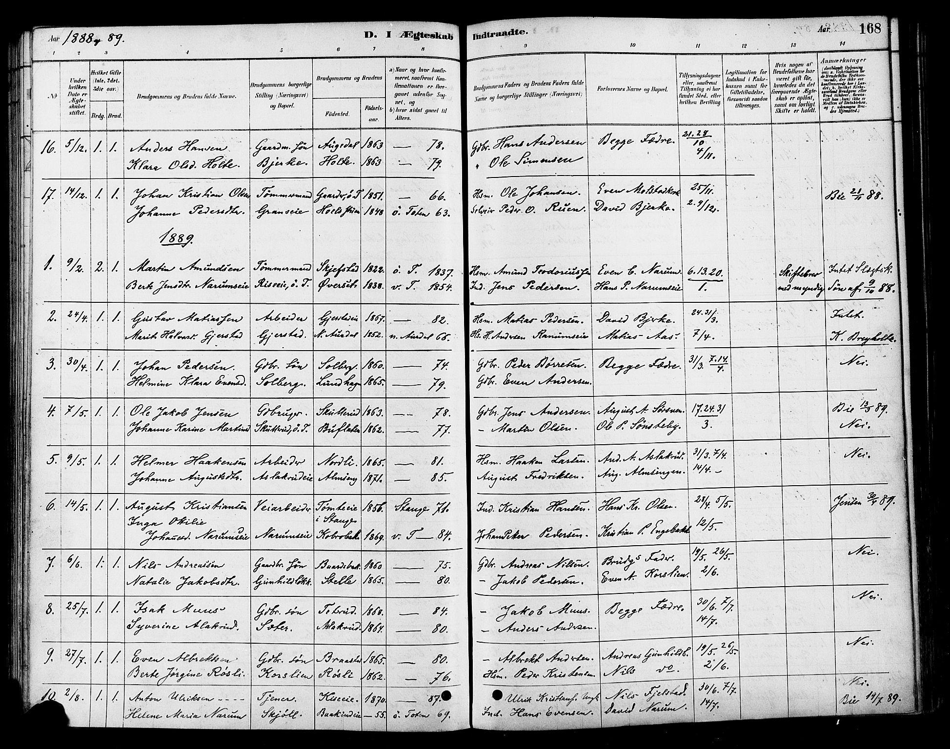 SAH, Vestre Toten prestekontor, H/Ha/Haa/L0010: Ministerialbok nr. 10, 1878-1894, s. 168