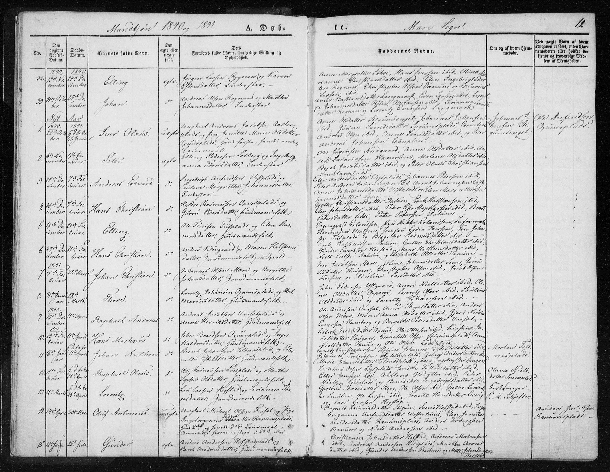 SAT, Ministerialprotokoller, klokkerbøker og fødselsregistre - Nord-Trøndelag, 735/L0339: Ministerialbok nr. 735A06 /1, 1836-1848, s. 12