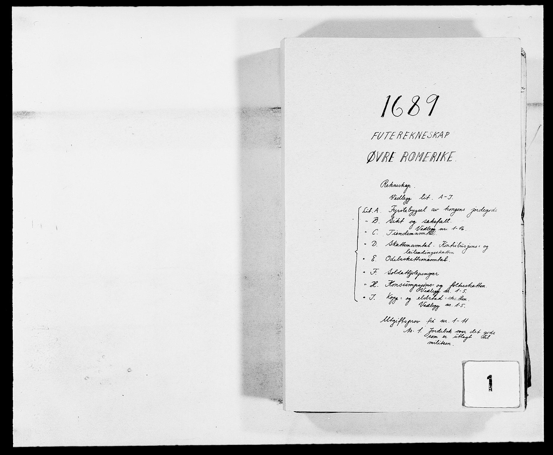 RA, Rentekammeret inntil 1814, Reviderte regnskaper, Fogderegnskap, R12/L0701: Fogderegnskap Øvre Romerike, 1689, s. 1