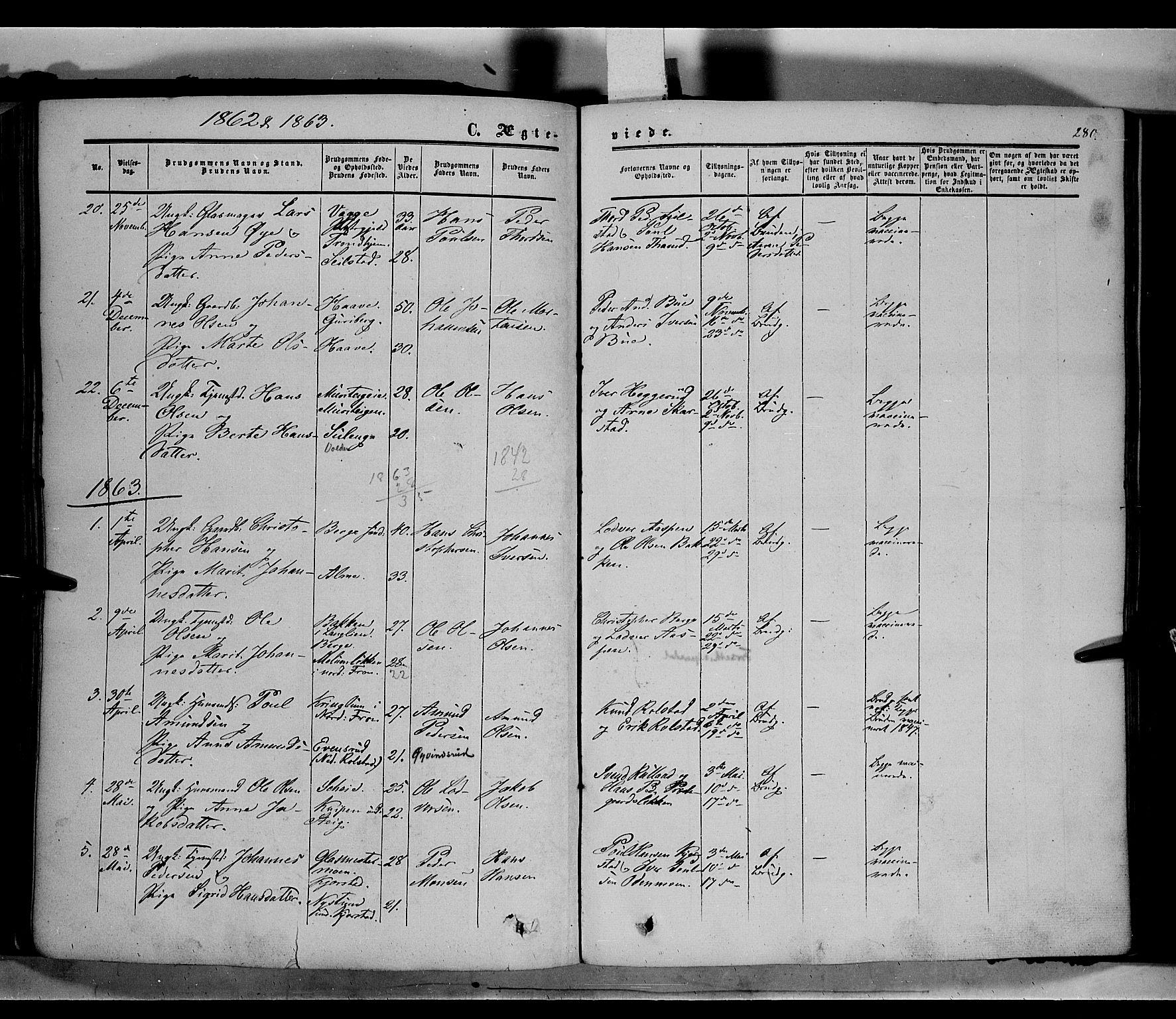 SAH, Sør-Fron prestekontor, H/Ha/Haa/L0001: Ministerialbok nr. 1, 1849-1863, s. 280