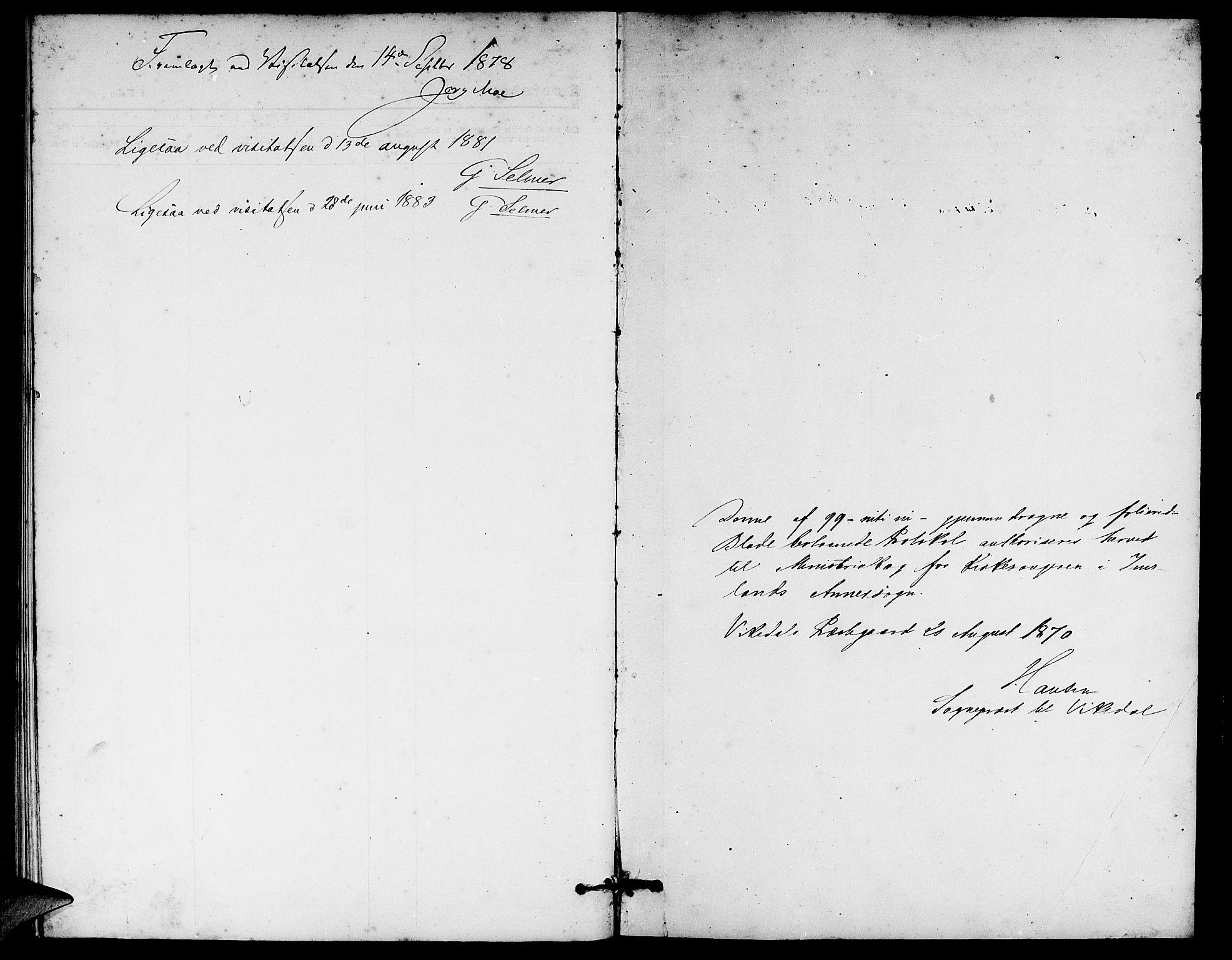 SAST, Vikedal sokneprestkontor, V: Klokkerbok nr. B 4, 1868-1890