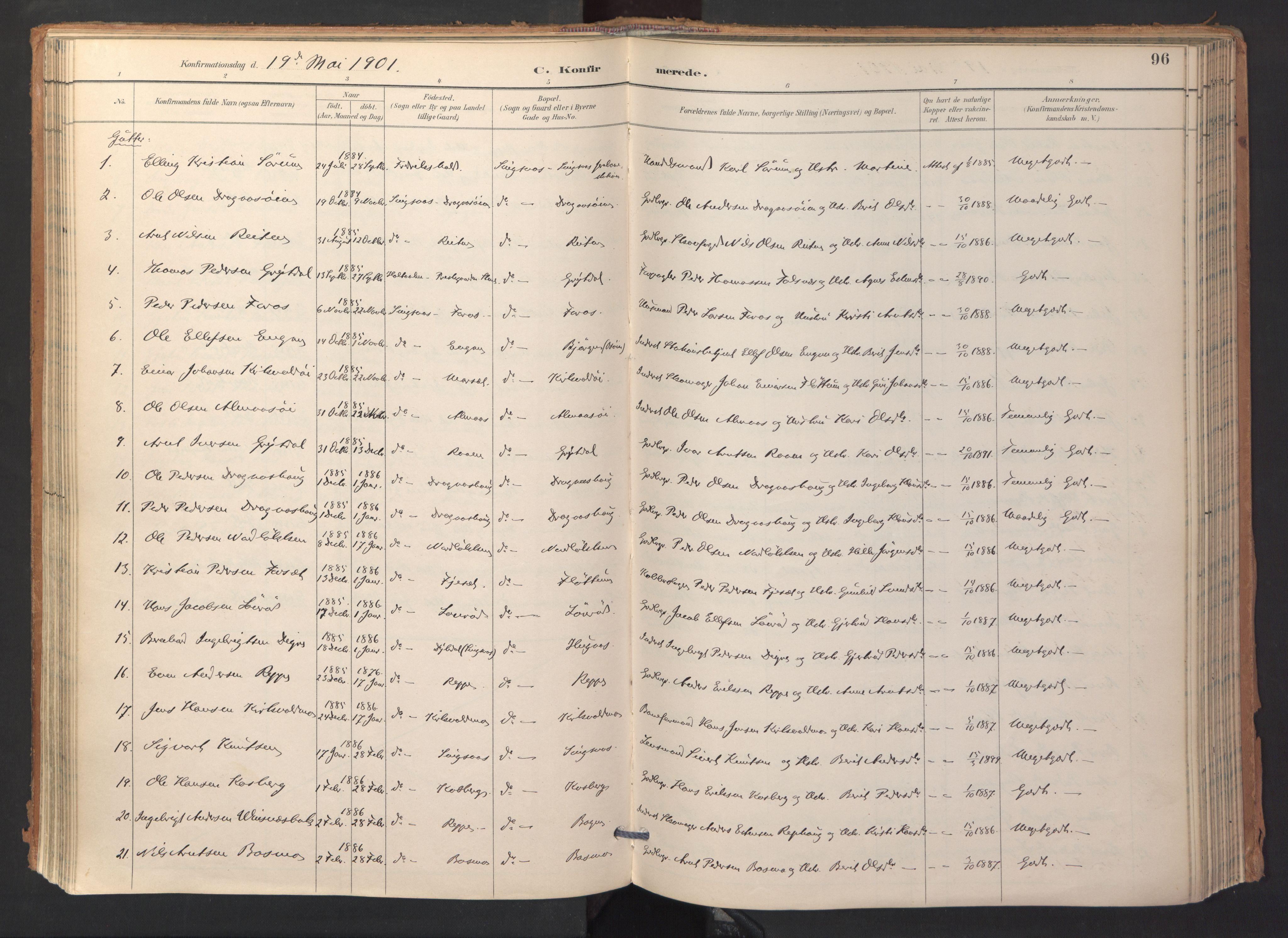 SAT, Ministerialprotokoller, klokkerbøker og fødselsregistre - Sør-Trøndelag, 688/L1025: Ministerialbok nr. 688A02, 1891-1909, s. 96