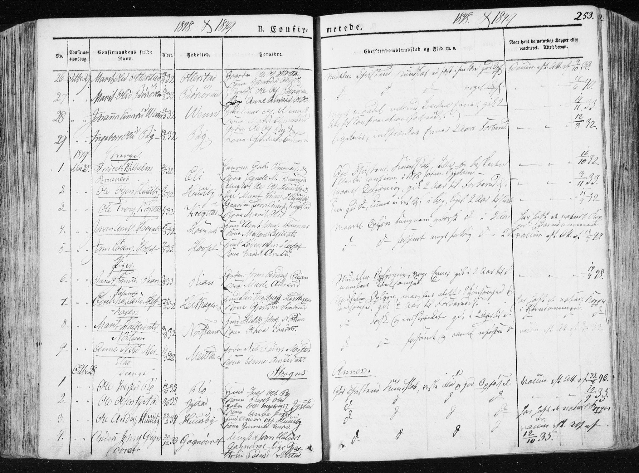 SAT, Ministerialprotokoller, klokkerbøker og fødselsregistre - Sør-Trøndelag, 665/L0771: Ministerialbok nr. 665A06, 1830-1856, s. 253