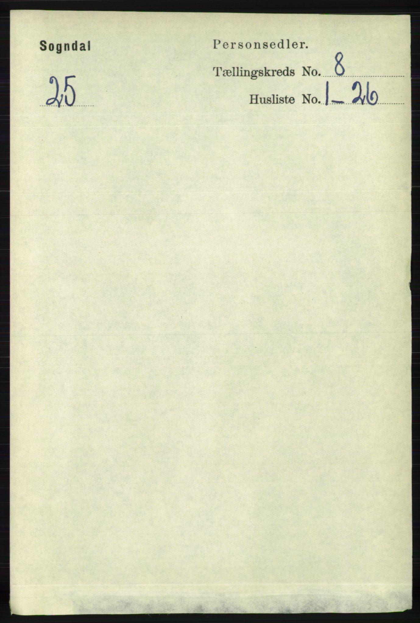 RA, Folketelling 1891 for 1111 Sokndal herred, 1891, s. 2689
