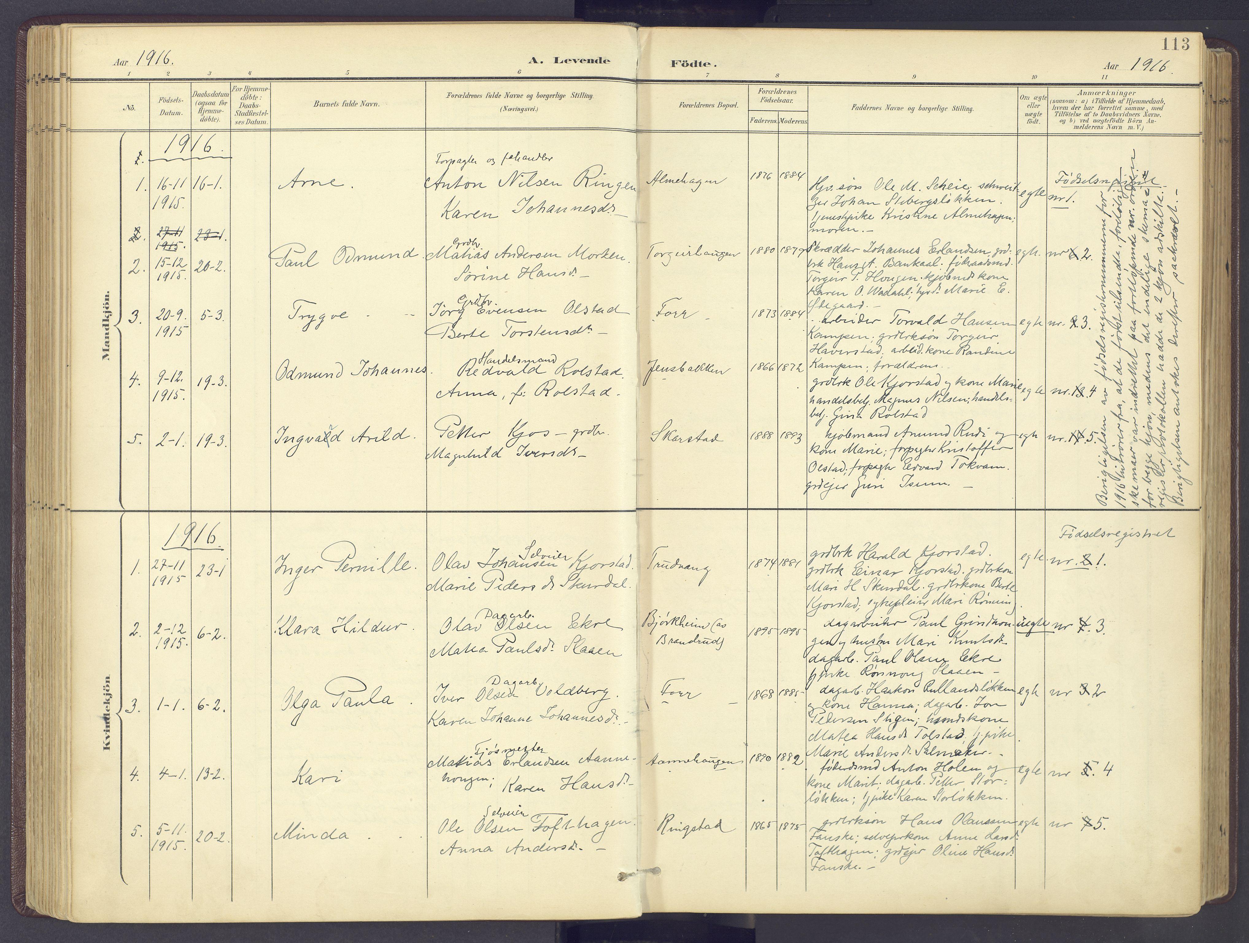 SAH, Sør-Fron prestekontor, H/Ha/Haa/L0004: Ministerialbok nr. 4, 1898-1919, s. 113