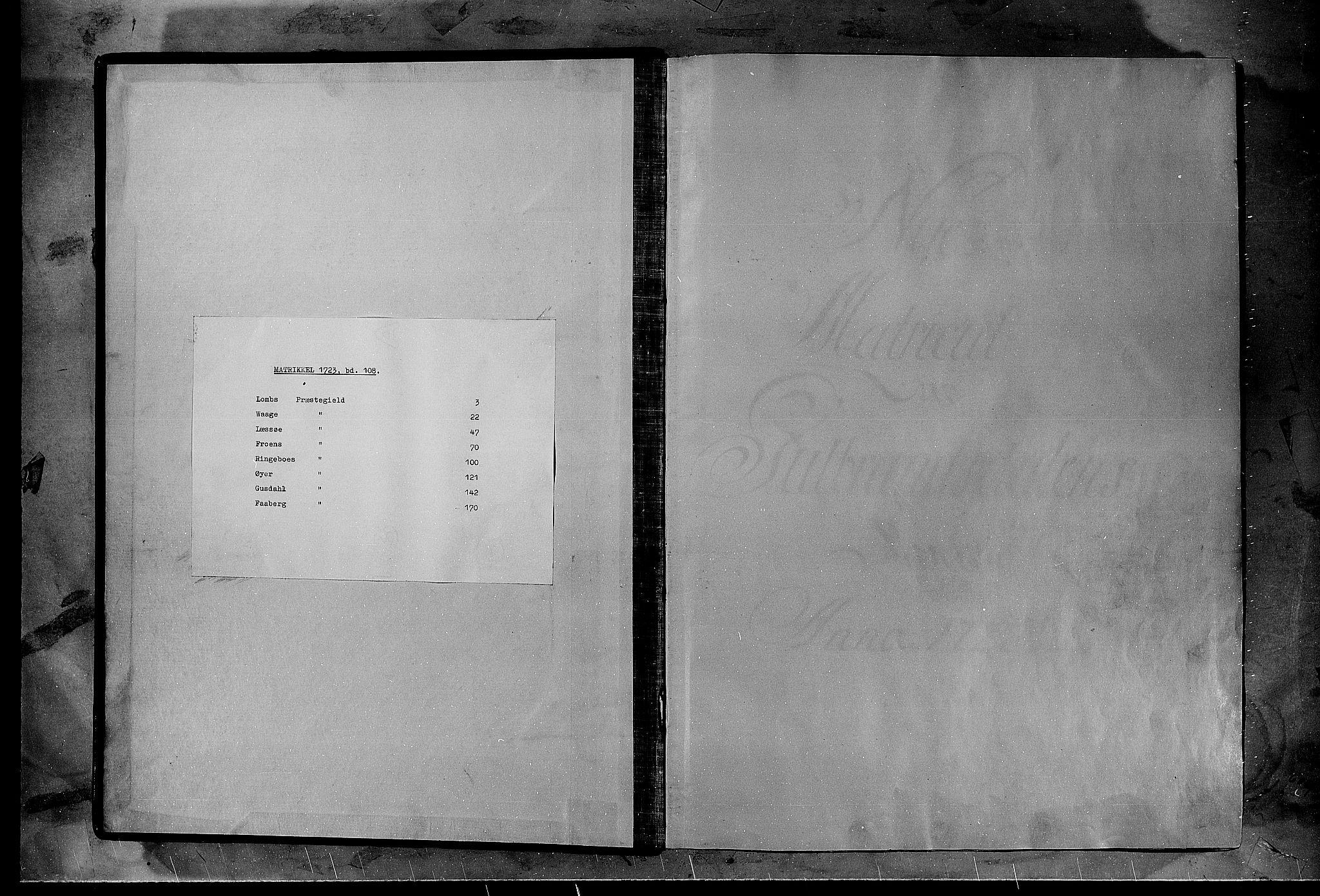 RA, Rentekammeret inntil 1814, Realistisk ordnet avdeling, N/Nb/Nbf/L0108: Gudbrandsdalen matrikkelprotokoll, 1723, s. upaginert