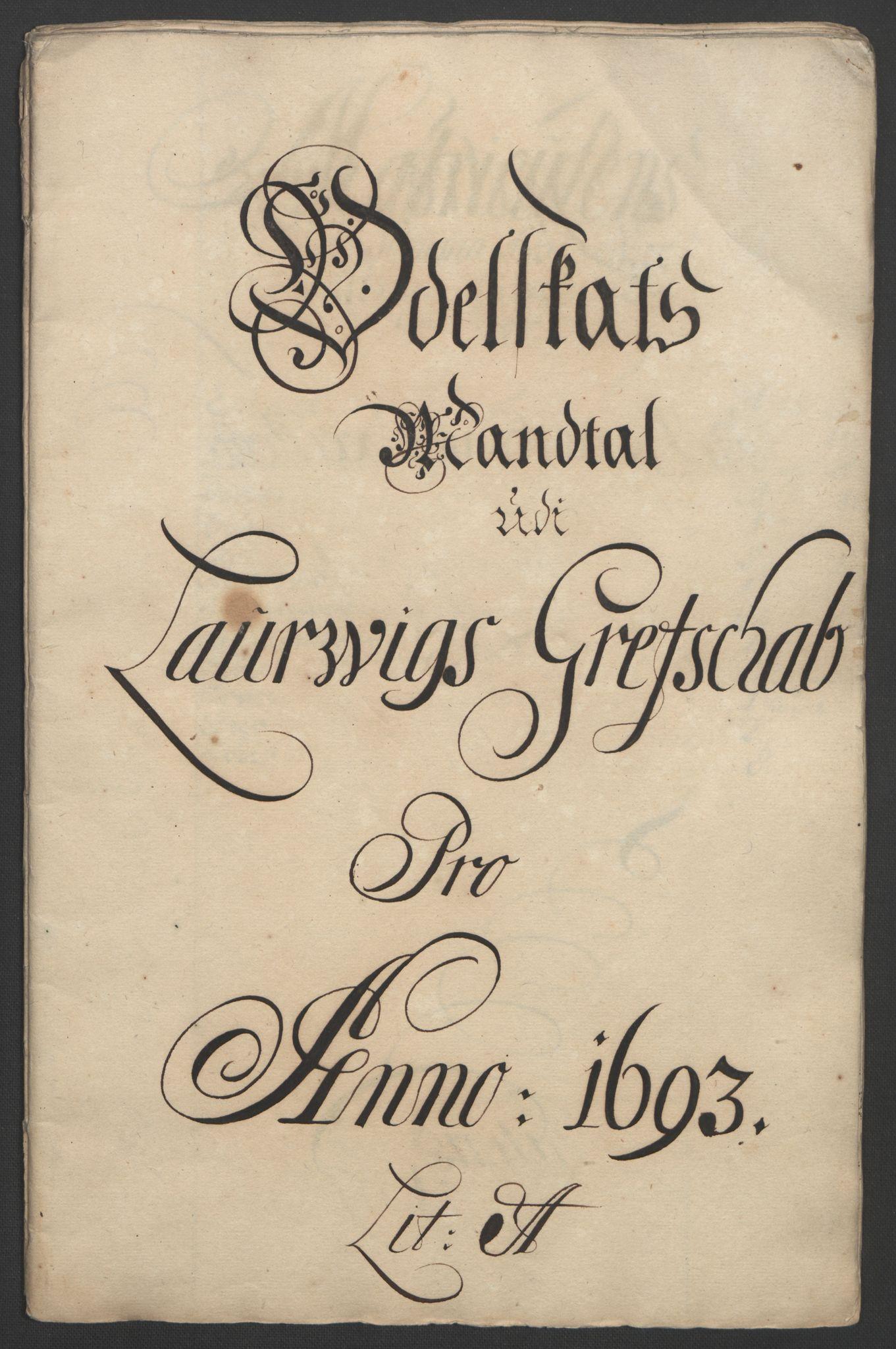 RA, Rentekammeret inntil 1814, Reviderte regnskaper, Fogderegnskap, R33/L1974: Fogderegnskap Larvik grevskap, 1693-1695, s. 16