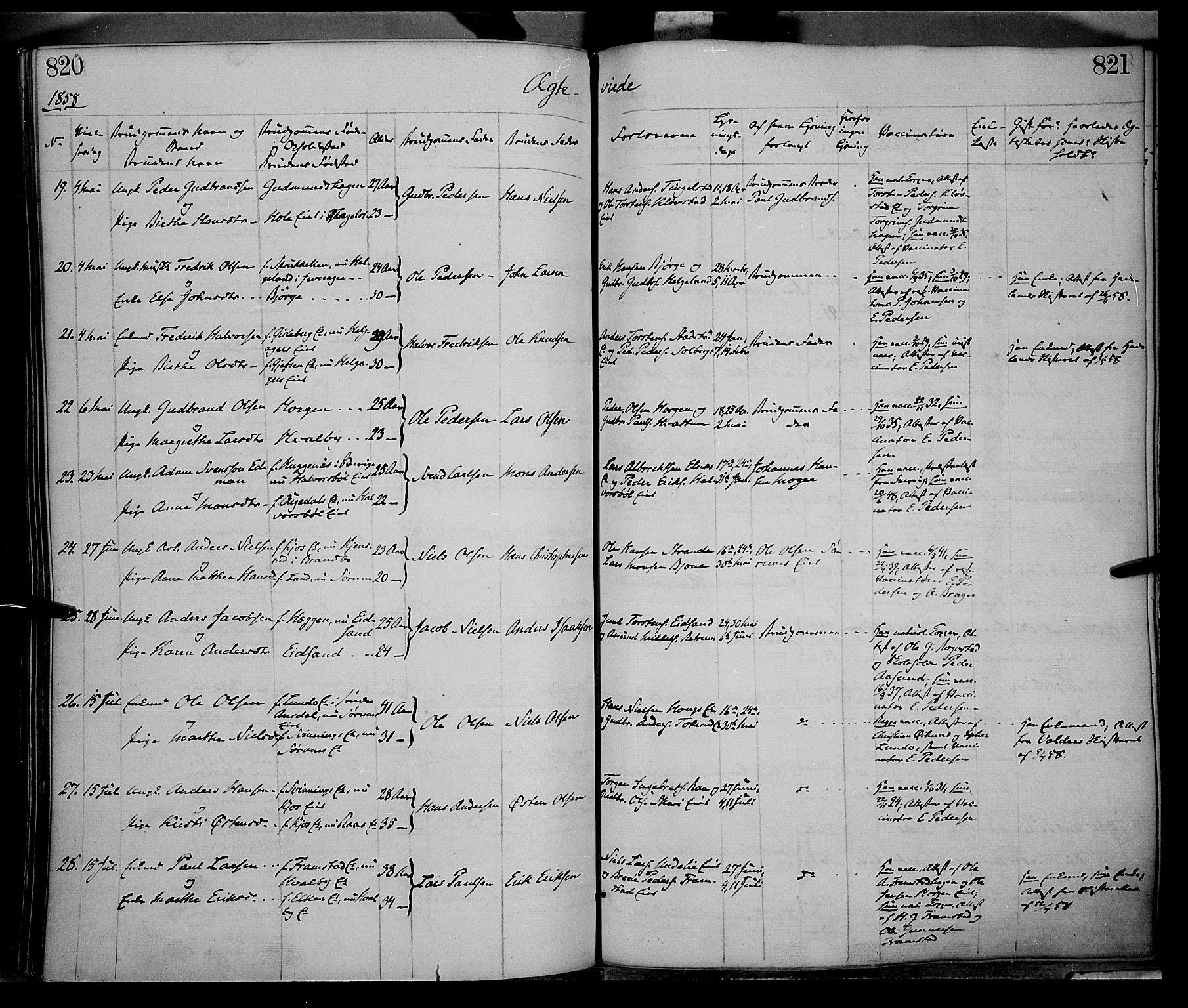 SAH, Gran prestekontor, Ministerialbok nr. 12, 1856-1874, s. 820-821