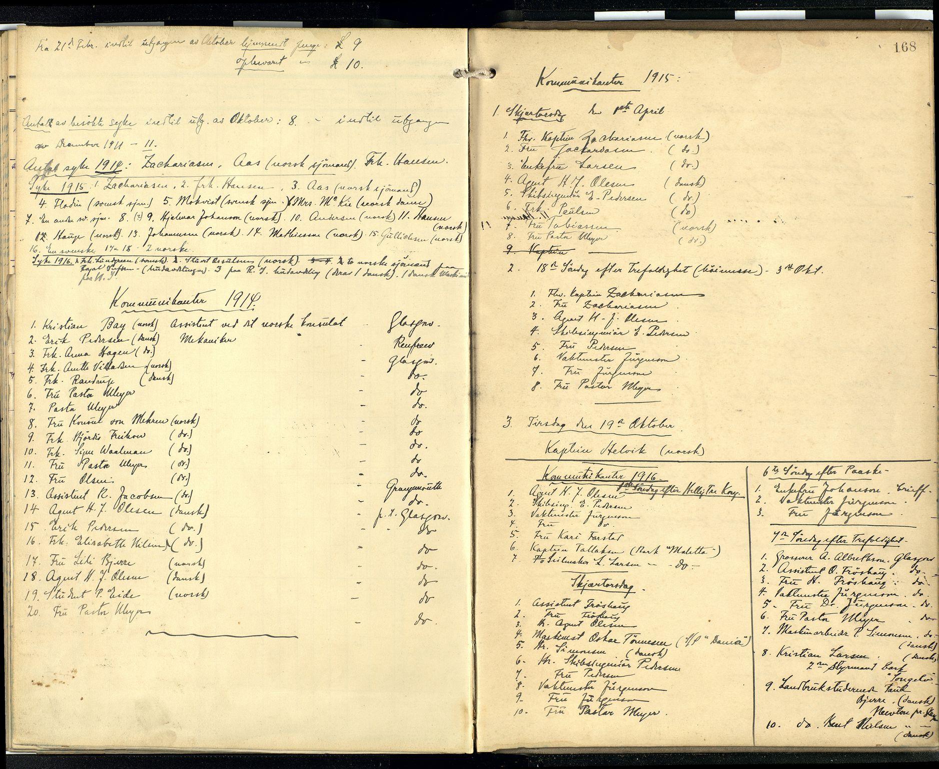 SAB, Den norske sjømannsmisjon i utlandet/Skotske havner (Leith, Glasgow), H/Ha/Hab/L0001: Ministerialbok nr. A 1, 1902-1931, s. 167b-168a