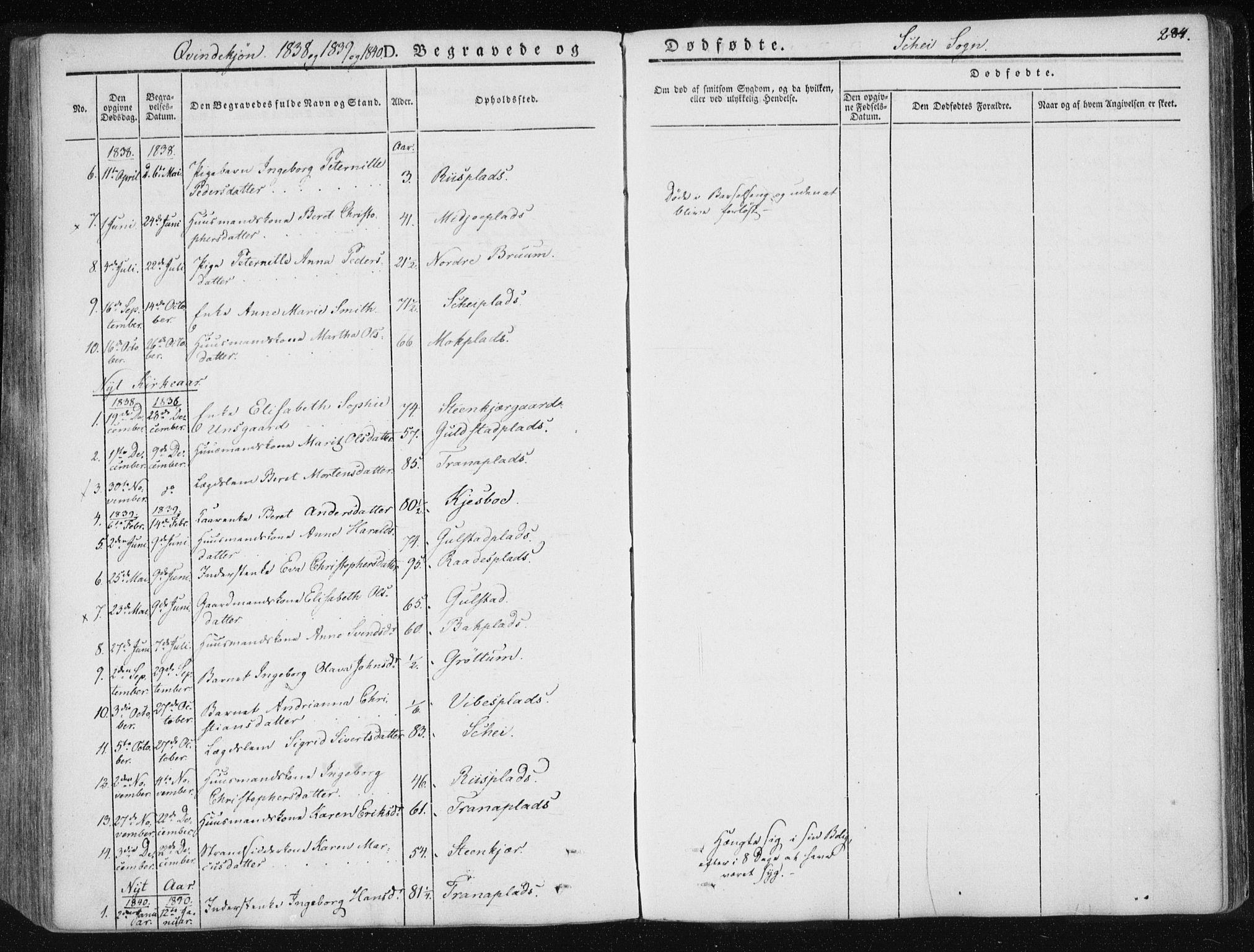 SAT, Ministerialprotokoller, klokkerbøker og fødselsregistre - Nord-Trøndelag, 735/L0339: Ministerialbok nr. 735A06 /2, 1836-1848, s. 284