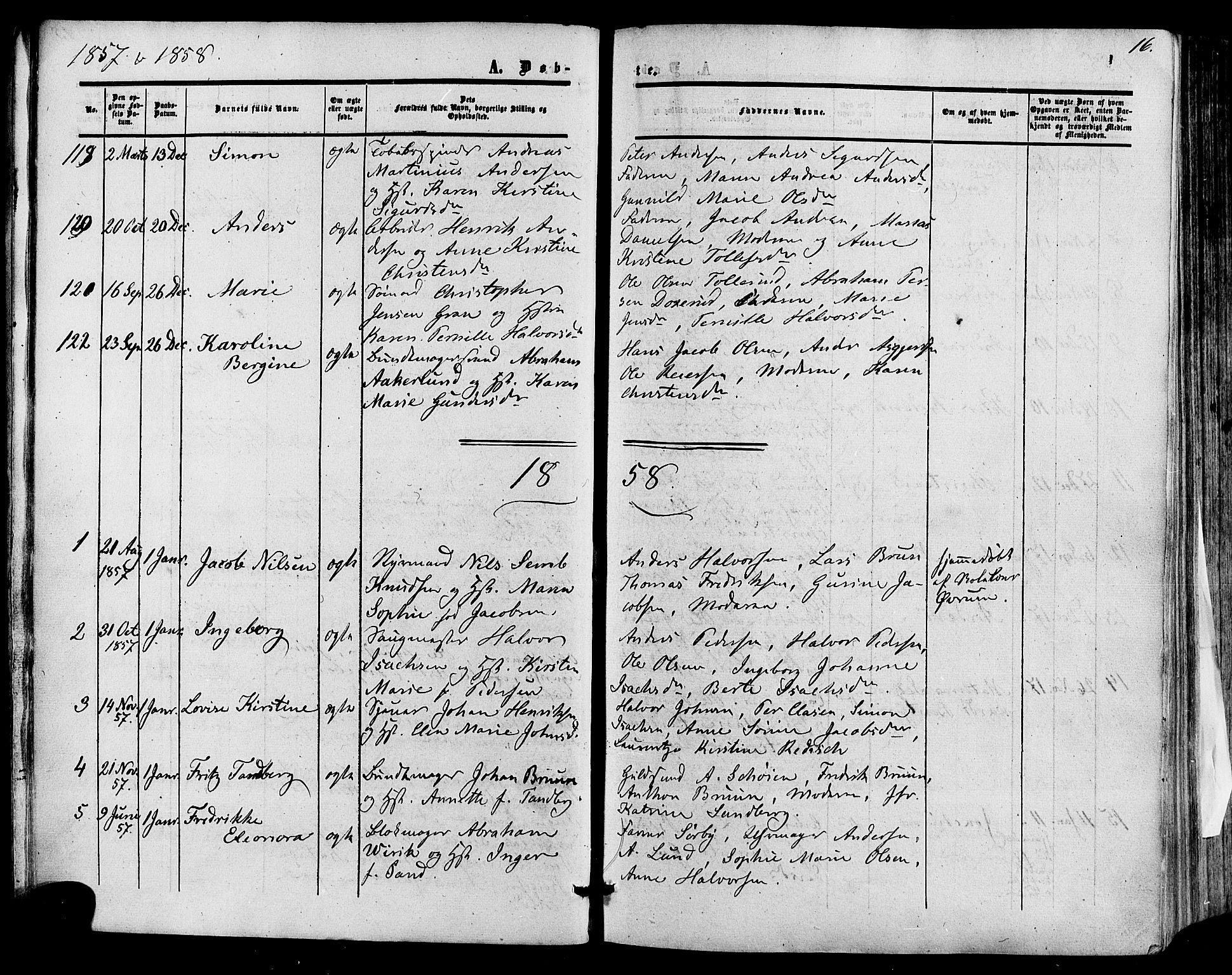 SAKO, Skien kirkebøker, F/Fa/L0007: Ministerialbok nr. 7, 1856-1865, s. 16