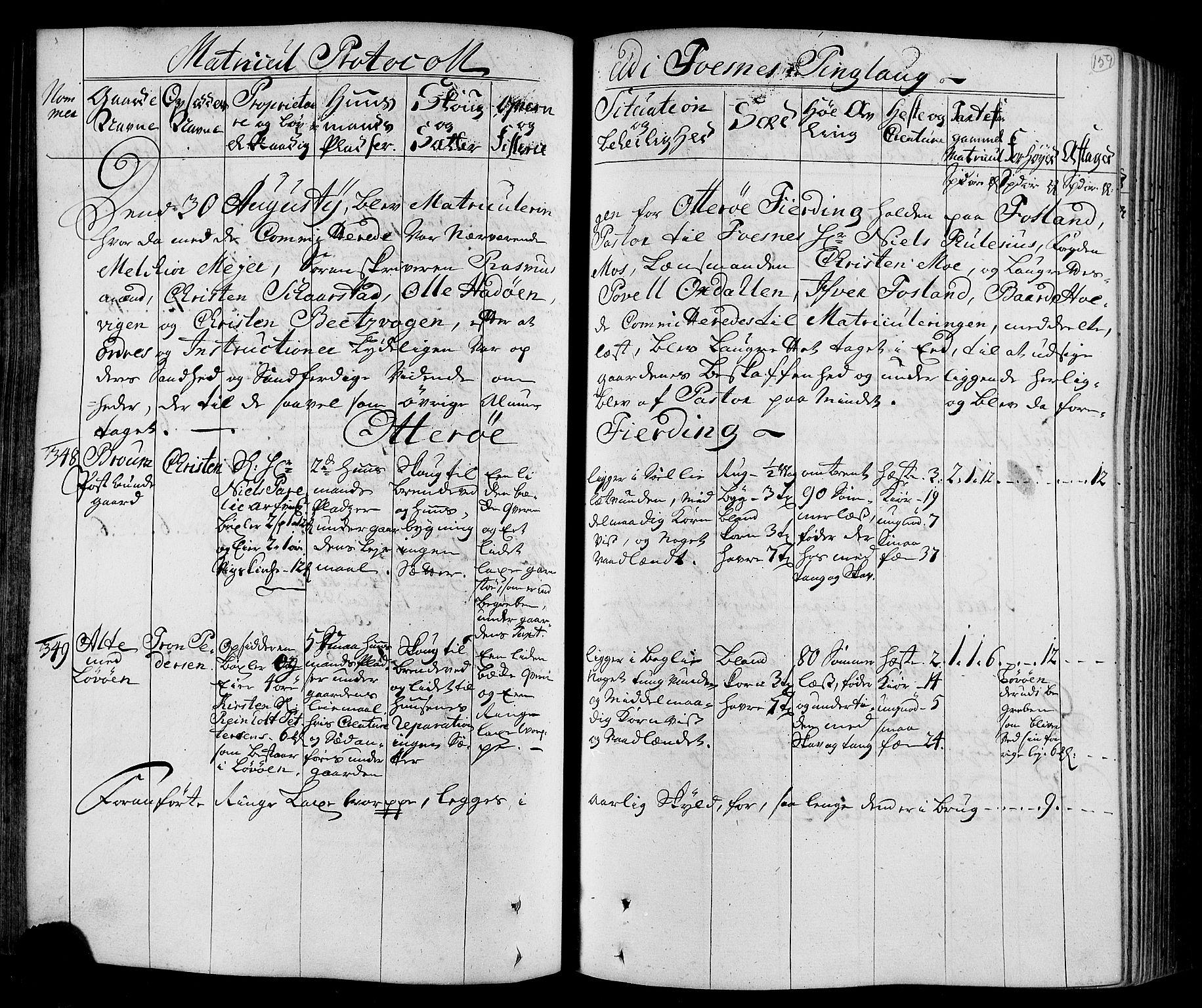 RA, Rentekammeret inntil 1814, Realistisk ordnet avdeling, N/Nb/Nbf/L0168: Namdalen eksaminasjonsprotokoll, 1723, s. 158b-159a