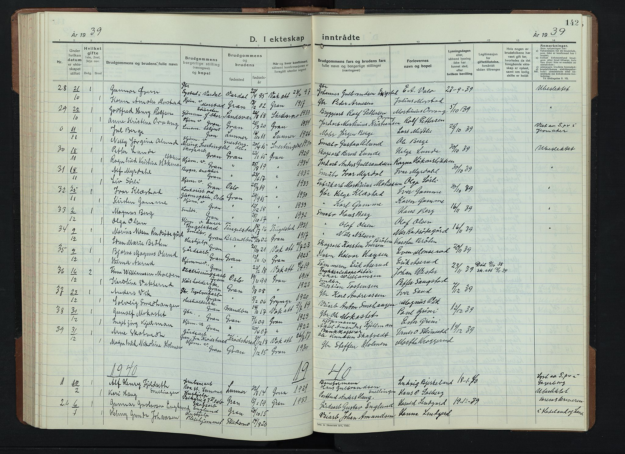 SAH, Gran prestekontor, Klokkerbok nr. 9, 1933-1950, s. 142