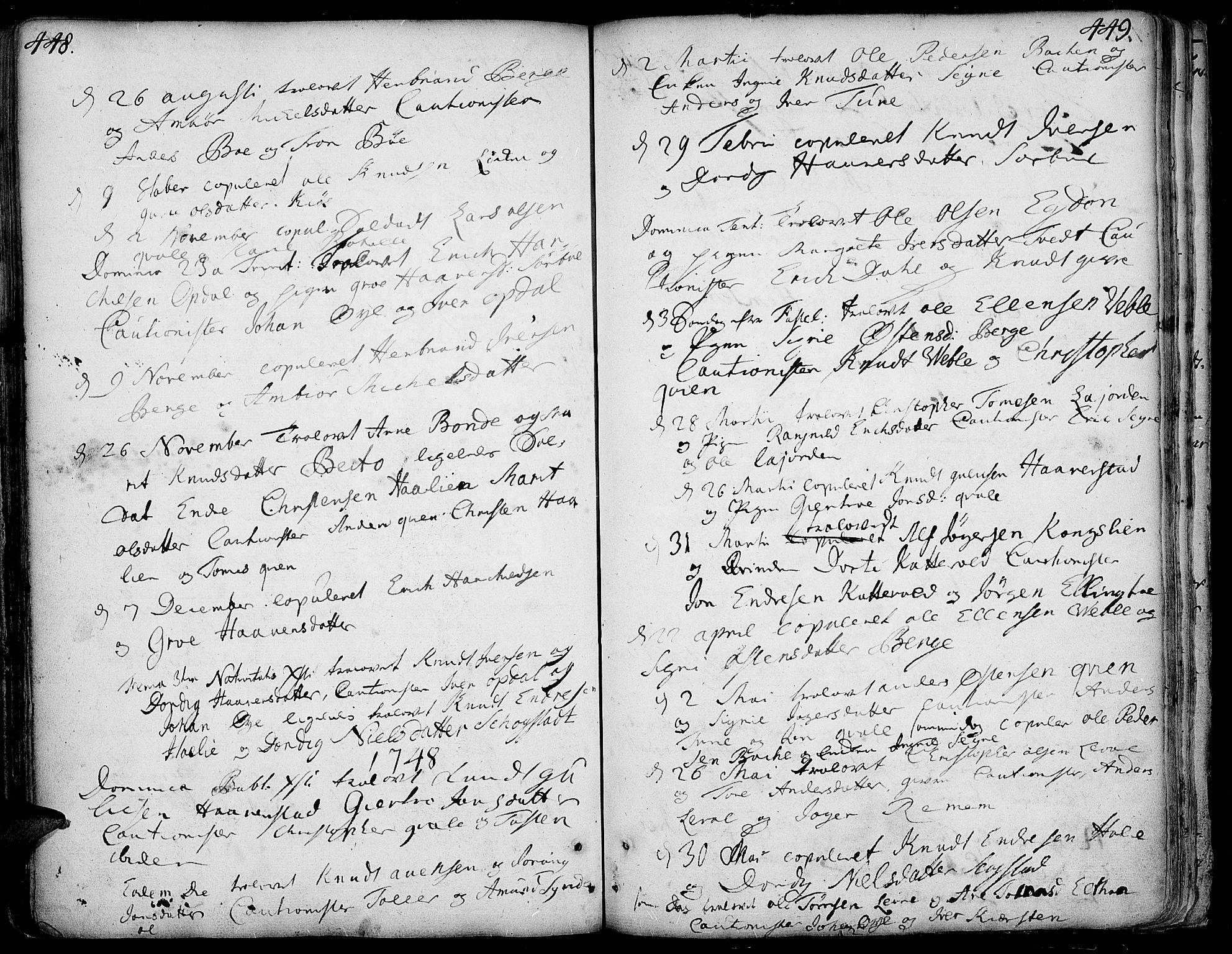 SAH, Vang prestekontor, Valdres, Ministerialbok nr. 1, 1730-1796, s. 448-449