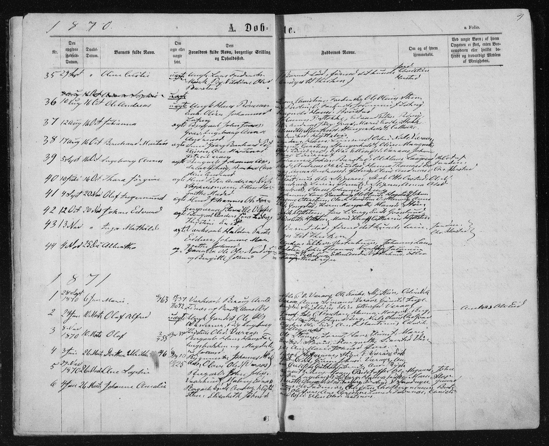 SAT, Ministerialprotokoller, klokkerbøker og fødselsregistre - Nord-Trøndelag, 722/L0219: Ministerialbok nr. 722A06, 1868-1880, s. 9
