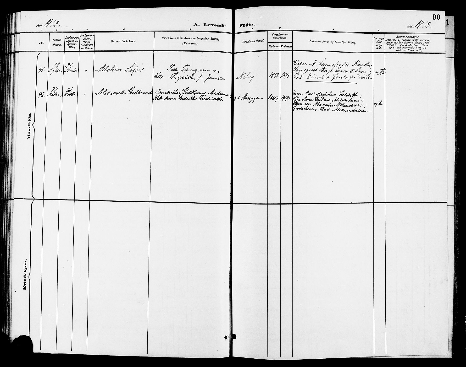 SAH, Tynset prestekontor, Klokkerbok nr. 9, 1900-1914, s. 90