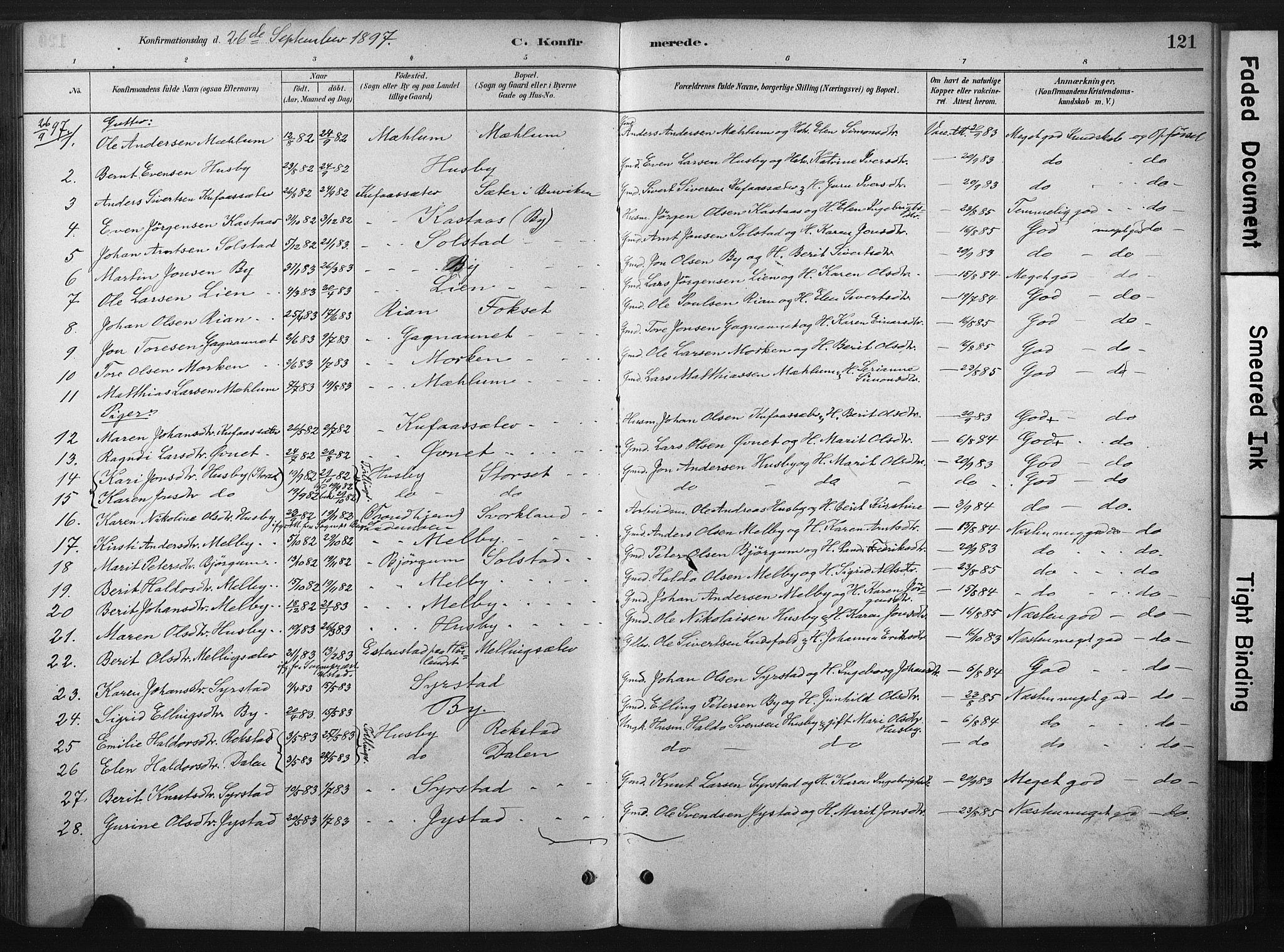 SAT, Ministerialprotokoller, klokkerbøker og fødselsregistre - Sør-Trøndelag, 667/L0795: Ministerialbok nr. 667A03, 1879-1907, s. 121