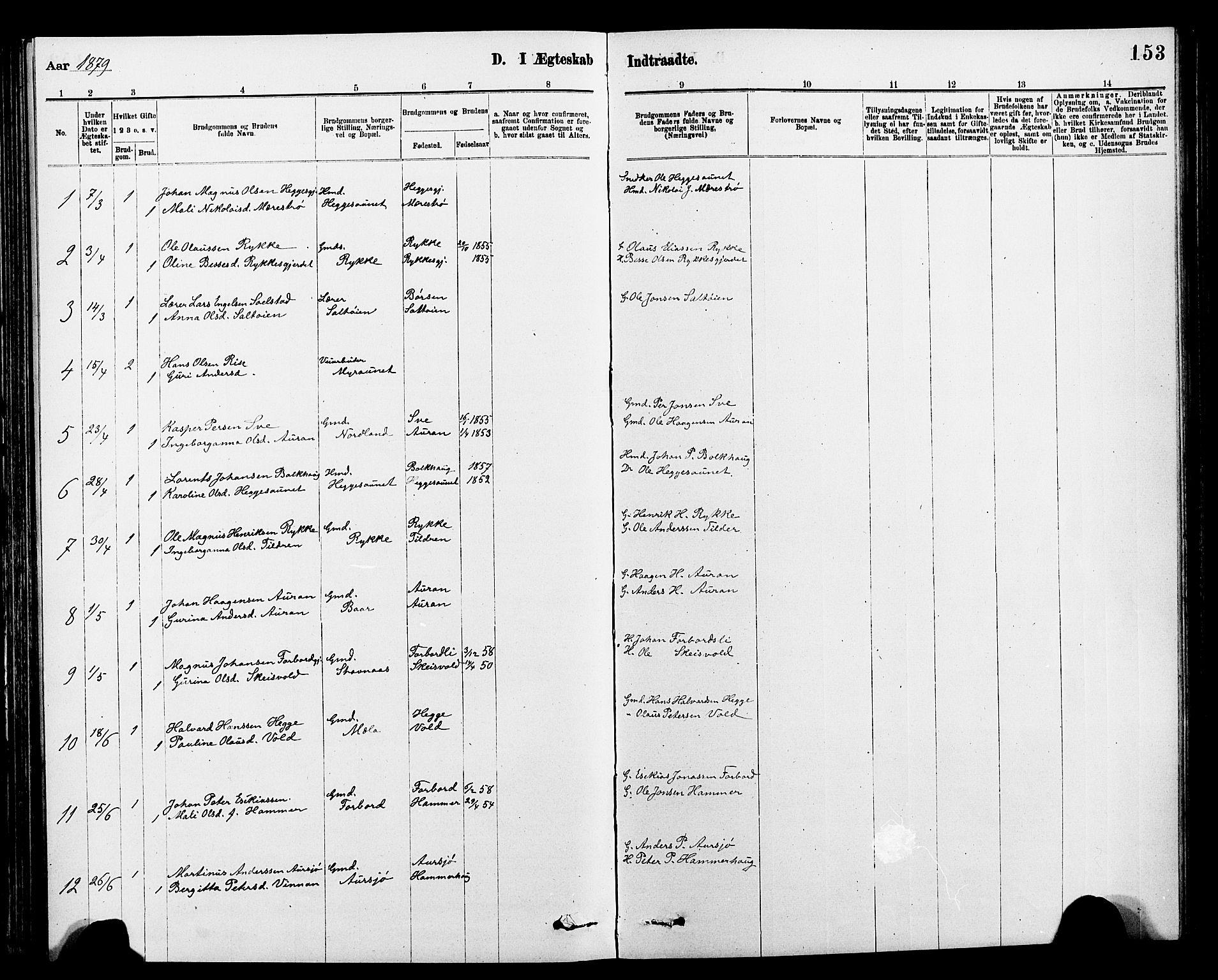 SAT, Ministerialprotokoller, klokkerbøker og fødselsregistre - Nord-Trøndelag, 712/L0103: Klokkerbok nr. 712C01, 1878-1917, s. 153