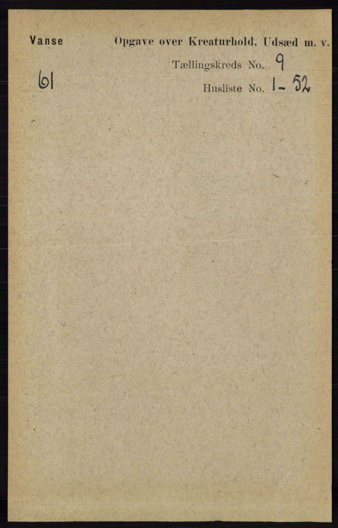 RA, Folketelling 1891 for 1041 Vanse herred, 1891, s. 9587