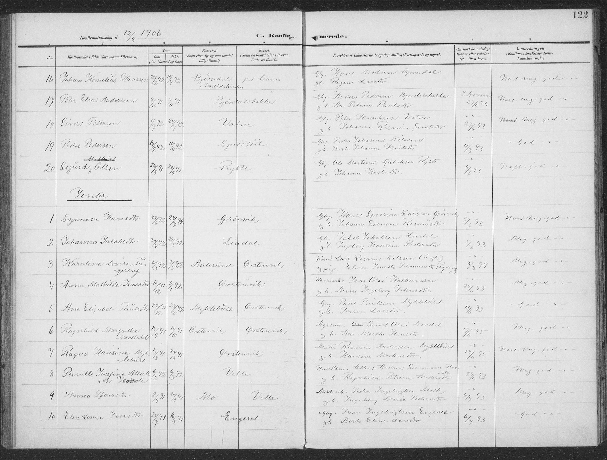 SAT, Ministerialprotokoller, klokkerbøker og fødselsregistre - Møre og Romsdal, 513/L0178: Ministerialbok nr. 513A05, 1906-1919, s. 122