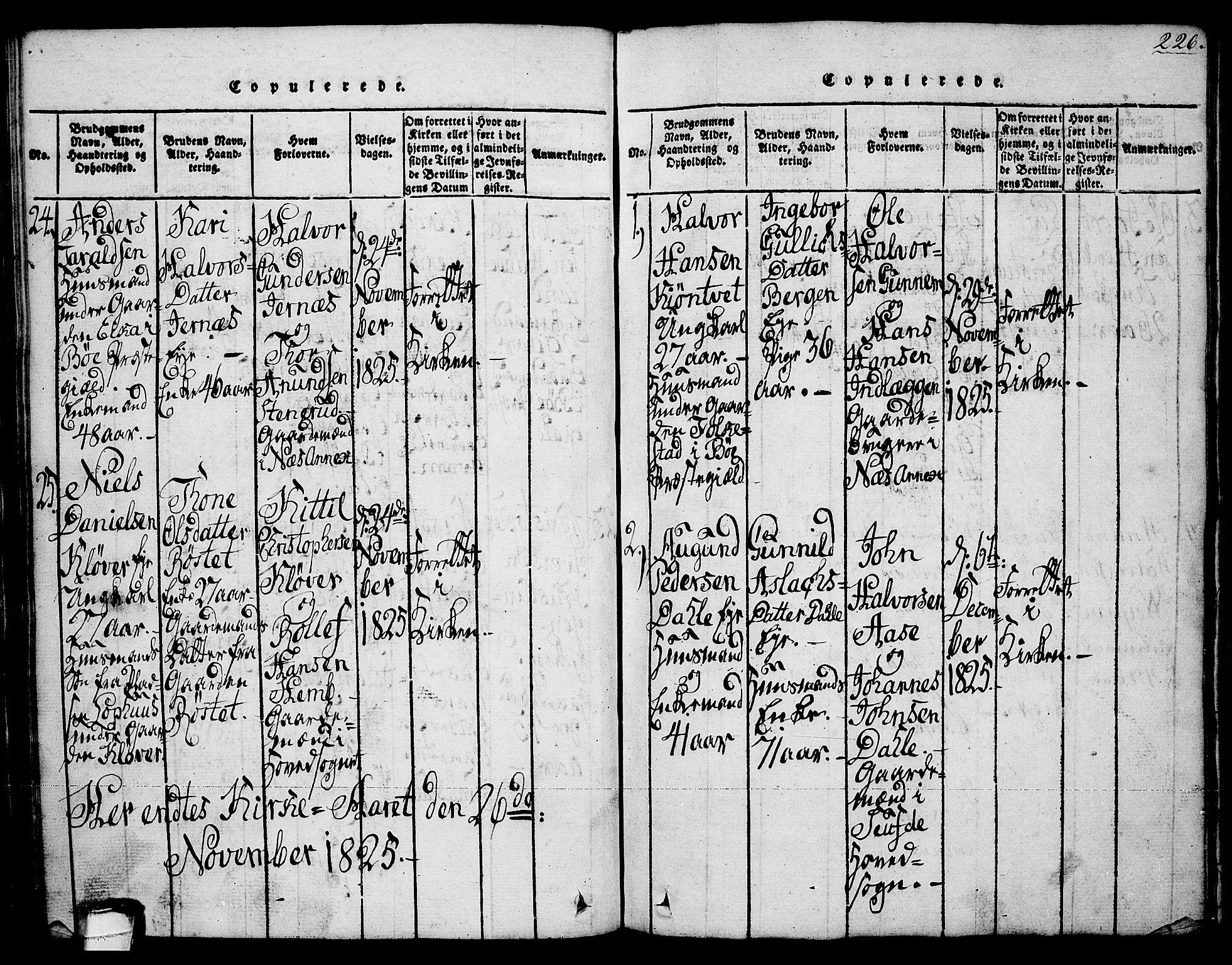 SAKO, Sauherad kirkebøker, G/Ga/L0001: Klokkerbok nr. I 1, 1815-1827, s. 226