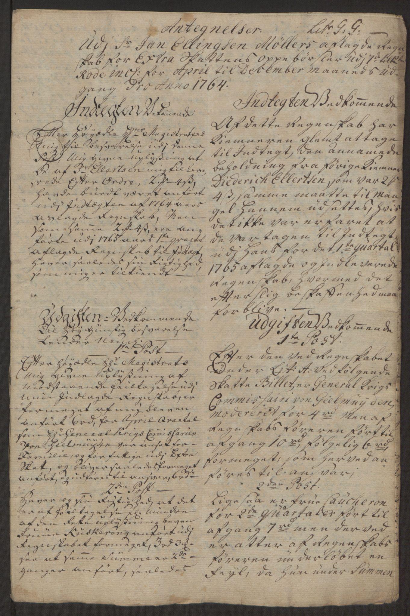 RA, Rentekammeret inntil 1814, Reviderte regnskaper, Byregnskaper, R/Rp/L0367: [P21] Kontribusjonsregnskap, 1764, s. 233