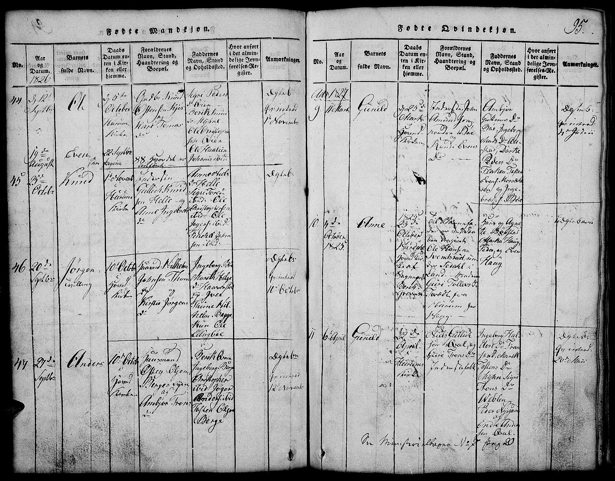 SAH, Vang prestekontor, Valdres, Klokkerbok nr. 2, 1814-1889, s. 95