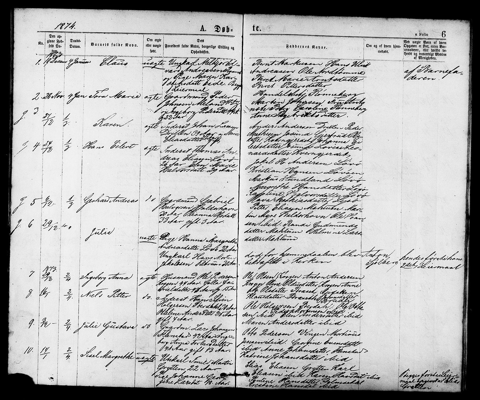 SAT, Ministerialprotokoller, klokkerbøker og fødselsregistre - Sør-Trøndelag, 655/L0679: Ministerialbok nr. 655A08, 1873-1879, s. 6